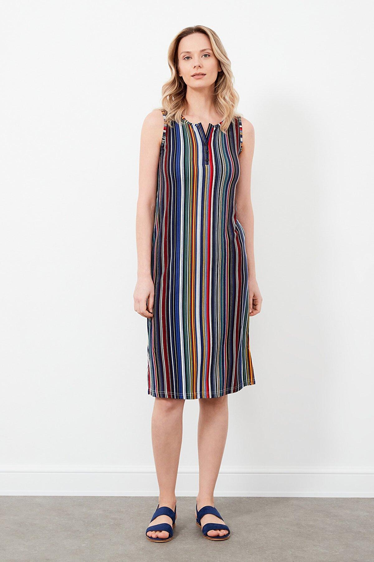 MARIANNE Çizgili Kolsuz Penye Viskon Elbise 21065-2