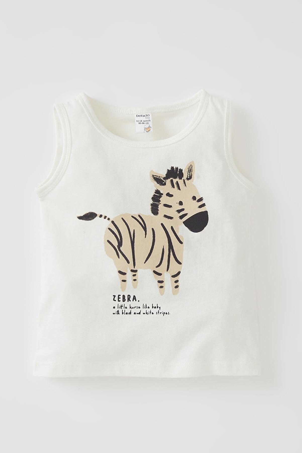 Defacto Erkek Bebek Beyaz Zebra Baskılı Pamuklu Atlet