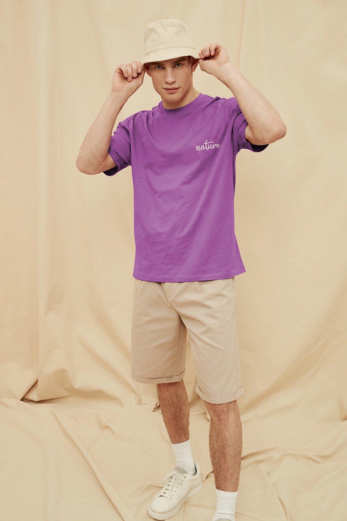 TRENDYOL MAN Mor Erkek %100 Organik Pamuk Oversize Fit T-Shirt TMNSS21TS1471