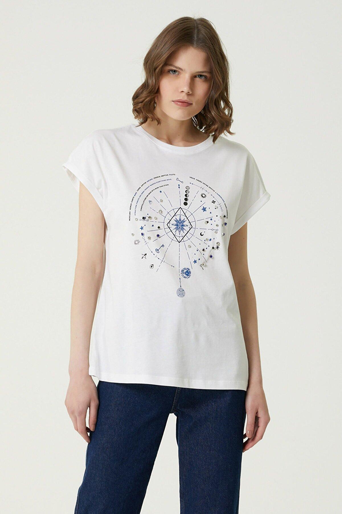 Network Kadın Basic Fit Ekru Baskılı T-shirt 1079953