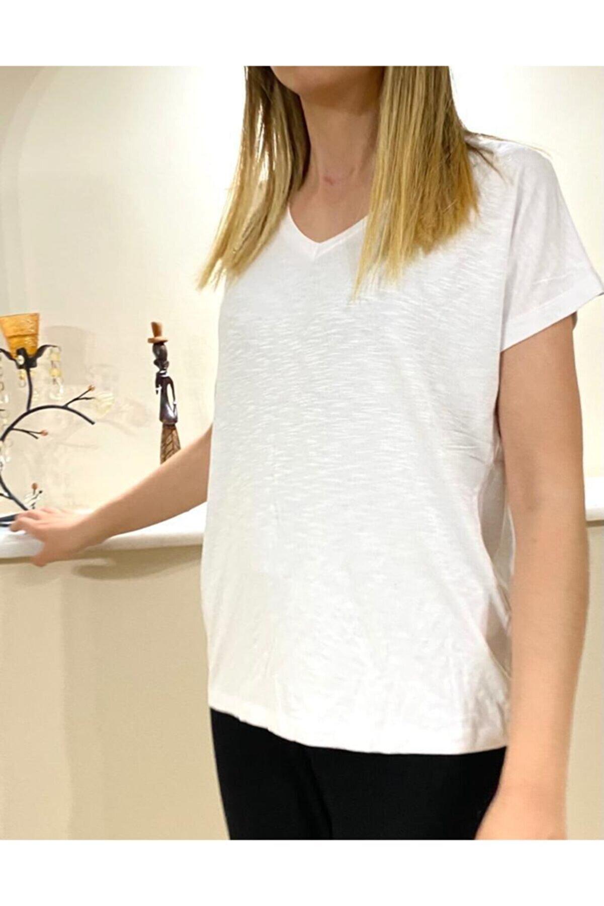 POLOMAX Kadın Viskoz Pamuk Penye V Yaka Yanları Yırtmaçlı Salaş Model 1281