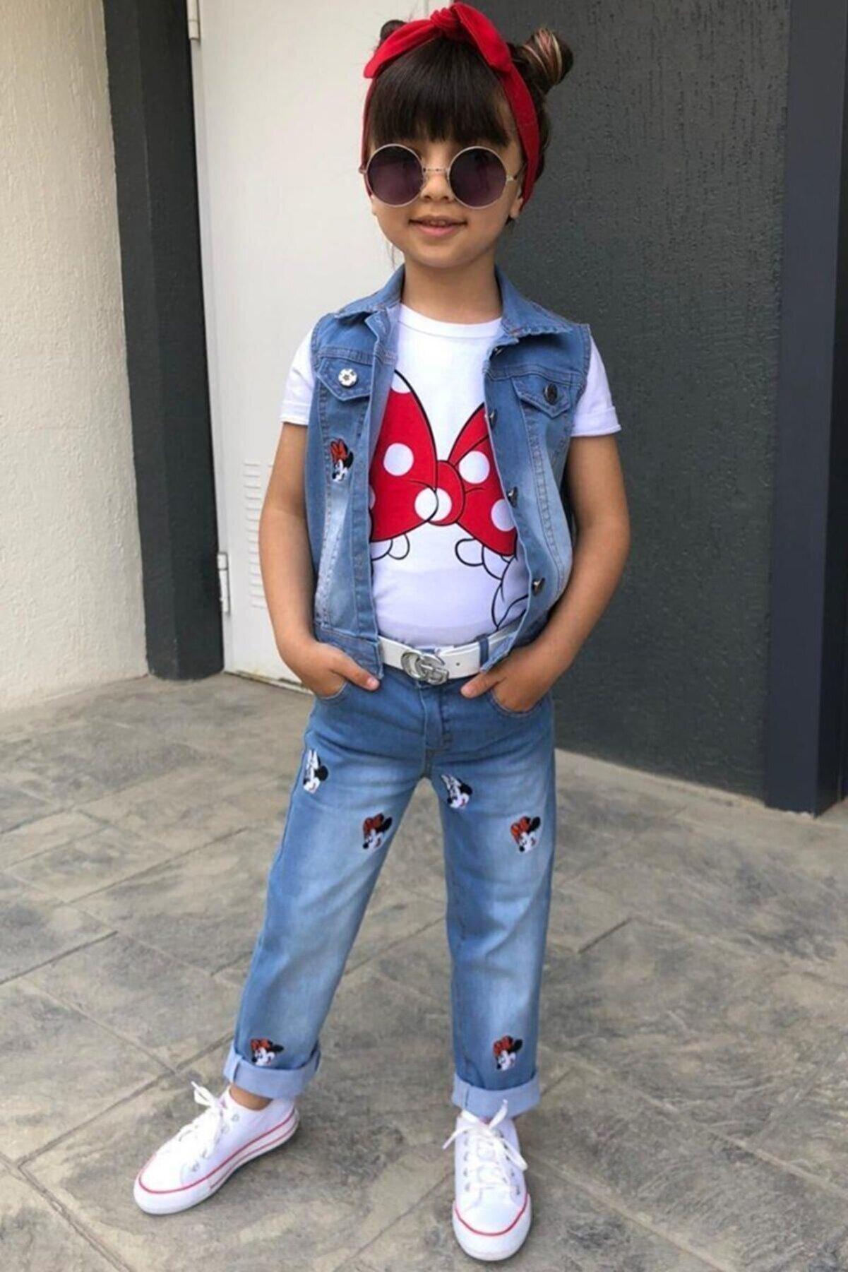 Riccotarz Kız Çocuk Mavi Minnie Detaylı Yelekli Alt Üst Takım