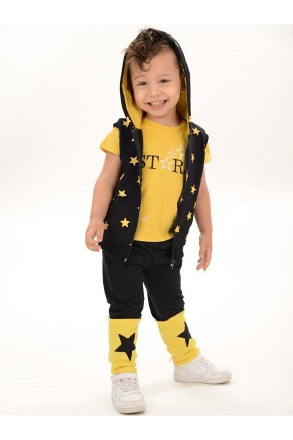 Riccotarz Erkek Çocuk Star Boy Sarı Eşofman Takım