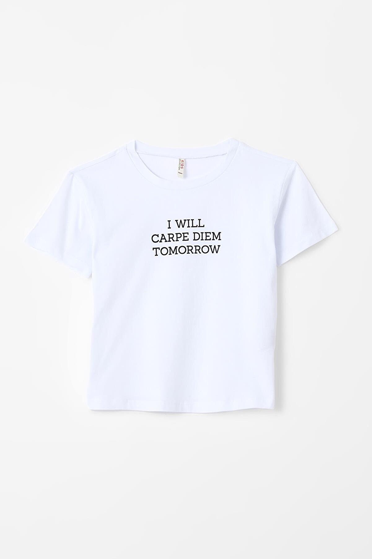 Defacto Kız Çocuk Slogan Baskılı Kısa Kollu Tişört U3761A621SP