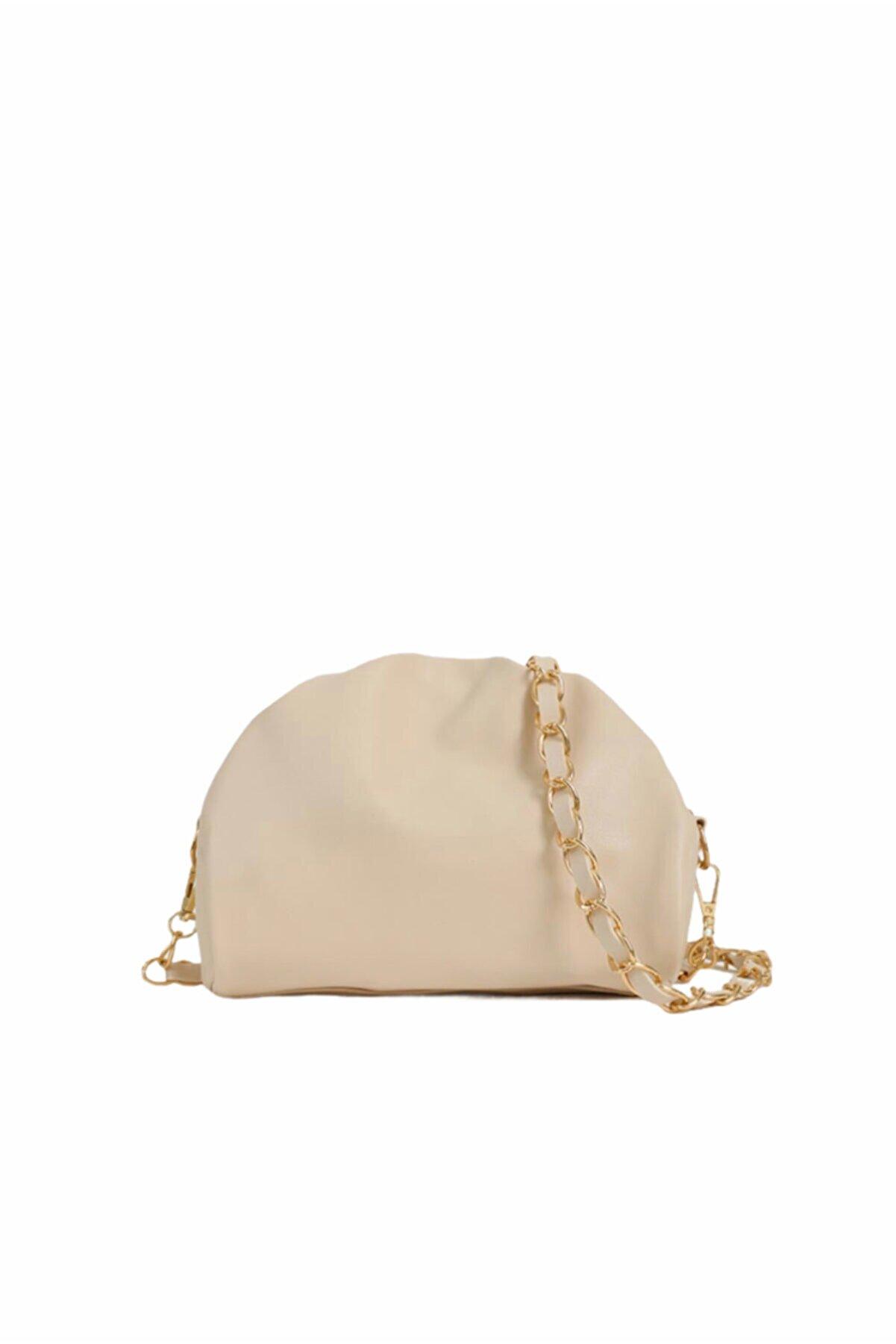 Moom Bag Kadın Bej Fermuarlı Askılı Çanta