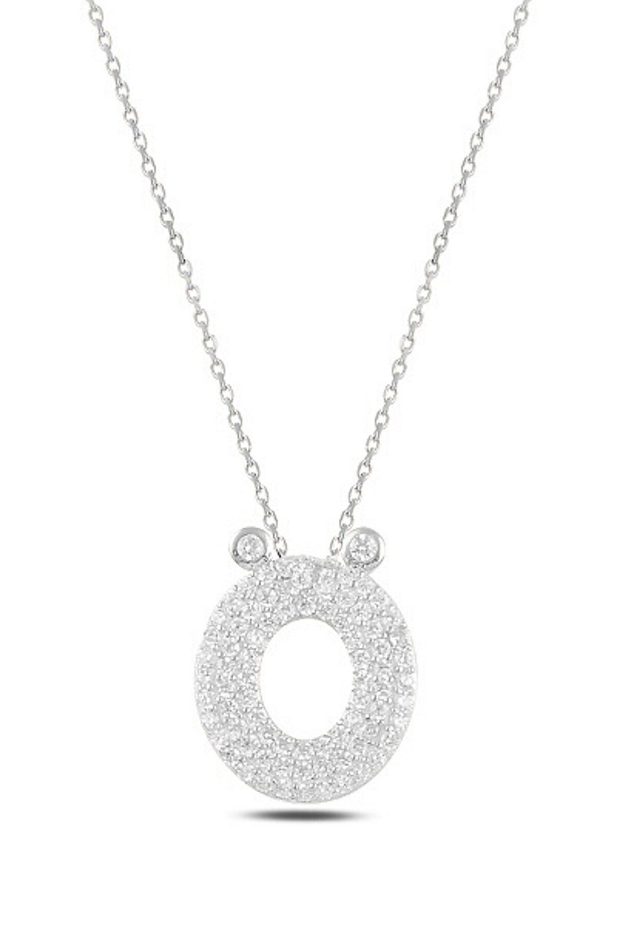 KOVAC Kadın -ö- Harfi Zirkon Taşlı 925 Ayar Gümüş Kolye