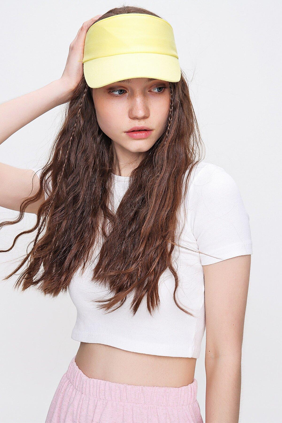 Trend Alaçatı Stili Kadın Sarı Tenis Şapkası ALC-A2197