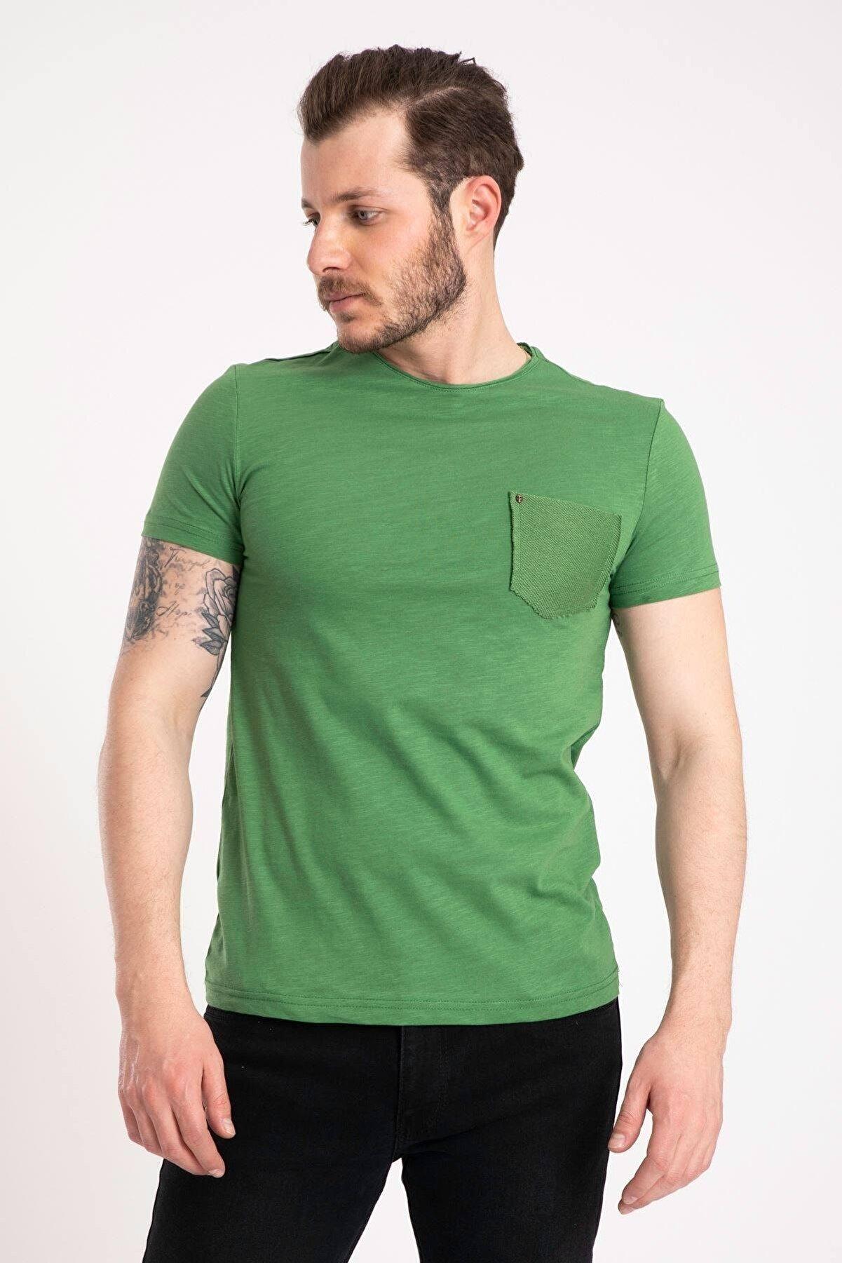 GİYSA %100 Pamuk Erkek Zümrüt Cepli T-shirt 2000-1
