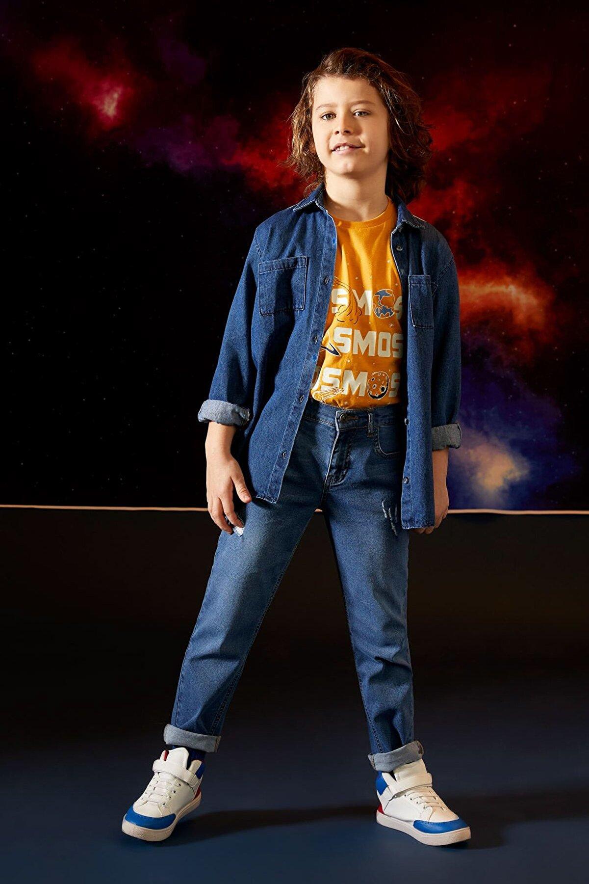 Defacto Erkek Çocuk Lacivert Slim Fit Yıpratmalı Jean Pantolon
