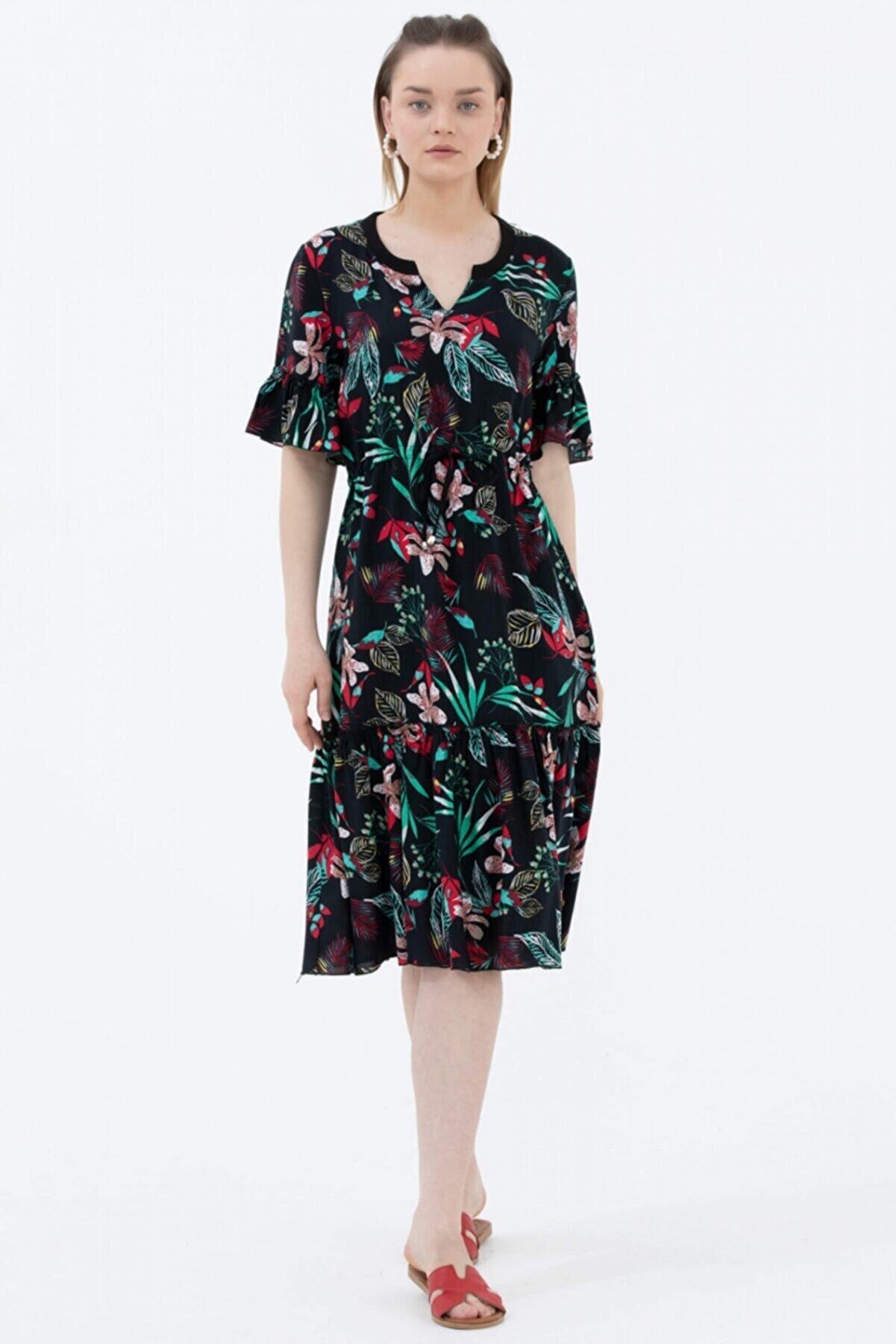 Sementa Kadın Siyah Çiçek Desenli Belden Büzgülü Elbise