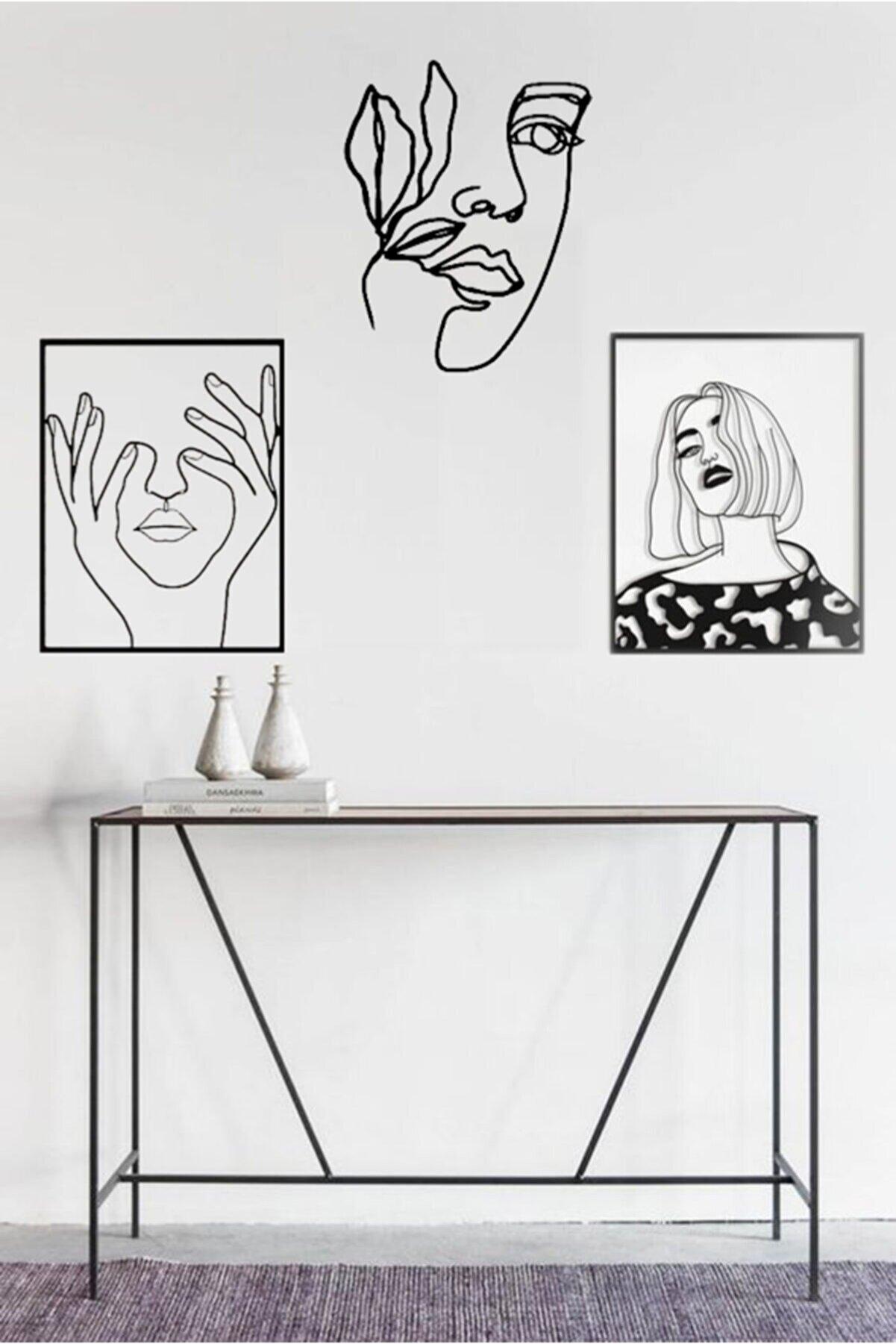 Taktakicat Muhteşem Üçlü Kadın Dekoratif Ahşap Tablo 2