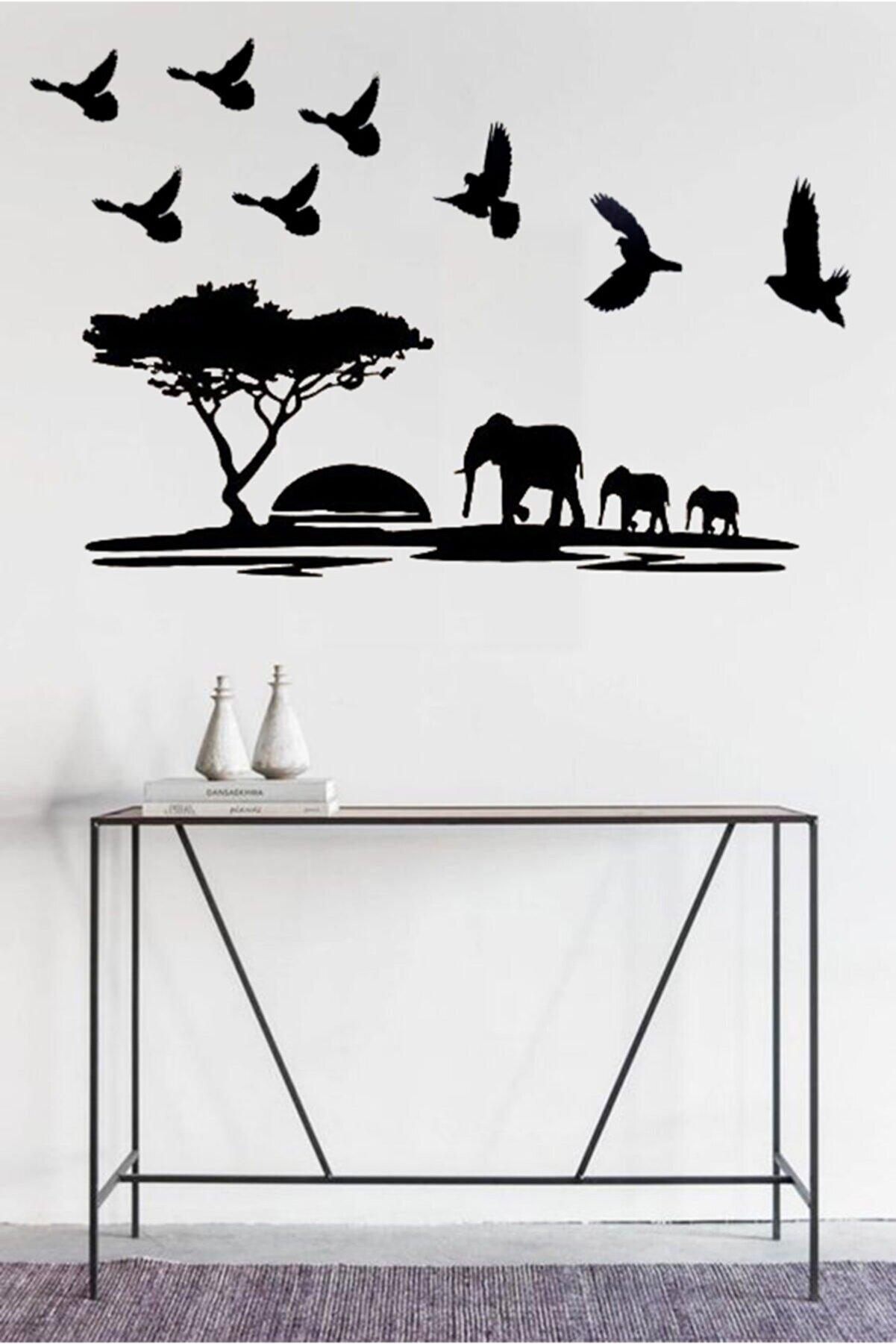 Taktakicat Dekoratif Kuş Sürüsü Ve Fil Sürüsü Ahşap Tablo
