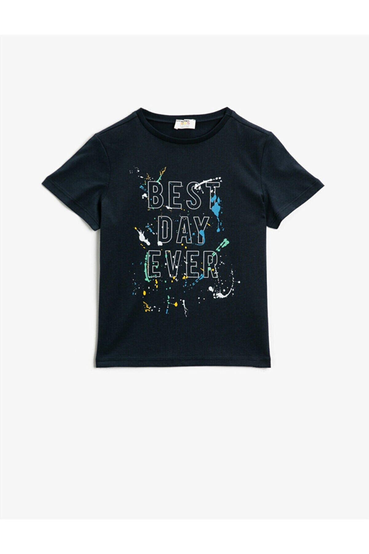 Koton Erkek Çocuk Lacivert Pamuklu Tshirt