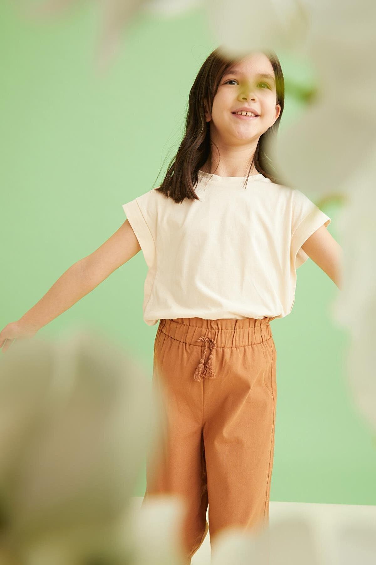Defacto Kız Çocuk Bej Basic T-Shirt
