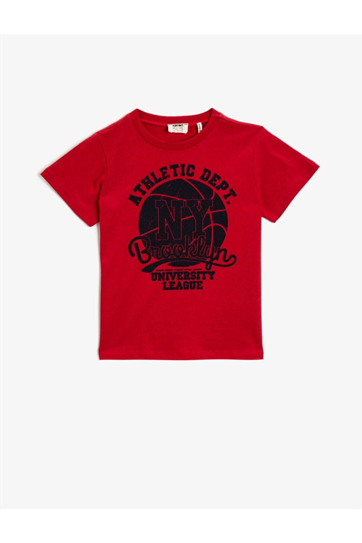 Koton Erkek Çocuk Kırmızı Pamuklu Baskili Bisiklet Yaka Tisört