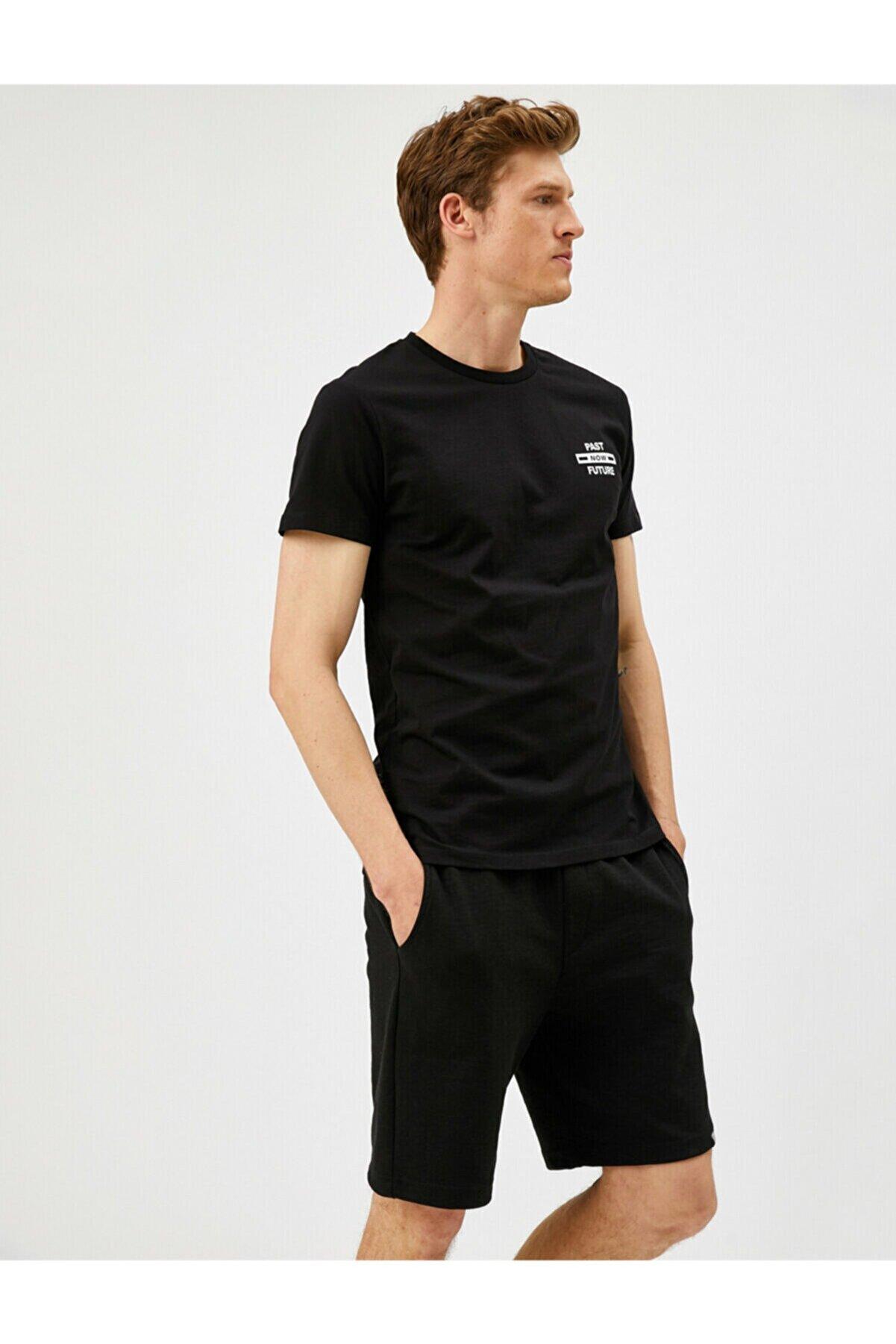 Koton Erkek Siyah Sloganlı T-Shirt