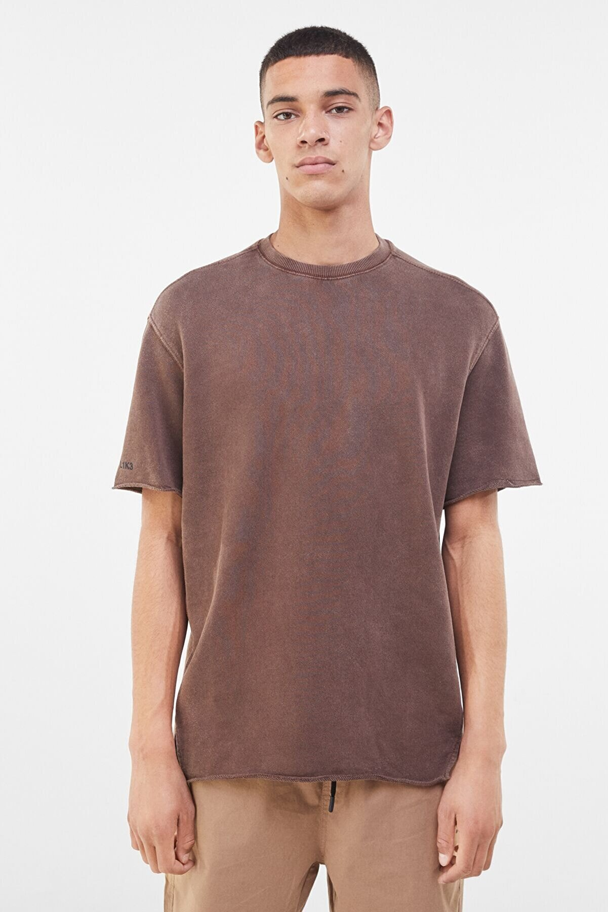 Bershka Soluk Efektli Pamuklu T-shirt