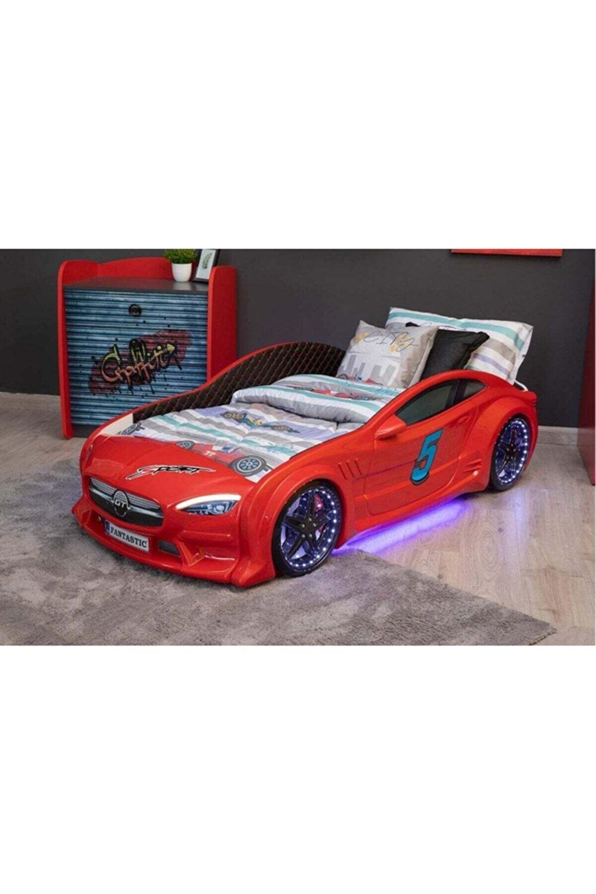inegoldeneve Mercedes Arabalı Yatak - Full - Koltuklu - Döşemeli - Kırmızı - (80x1.60 Iç Yatak Ölçülü)