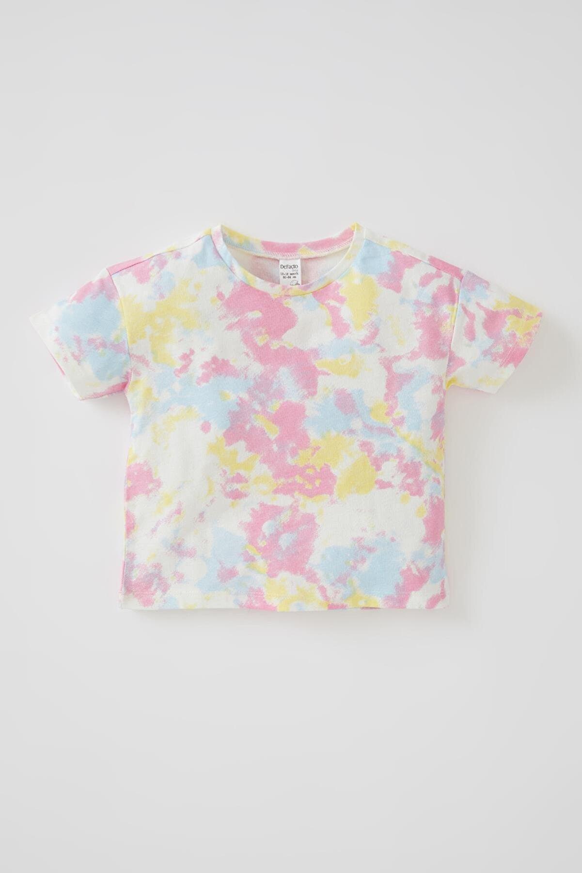 Defacto Kız Bebek Batik Desenli Kısa Kollu Pamuklu Tişört