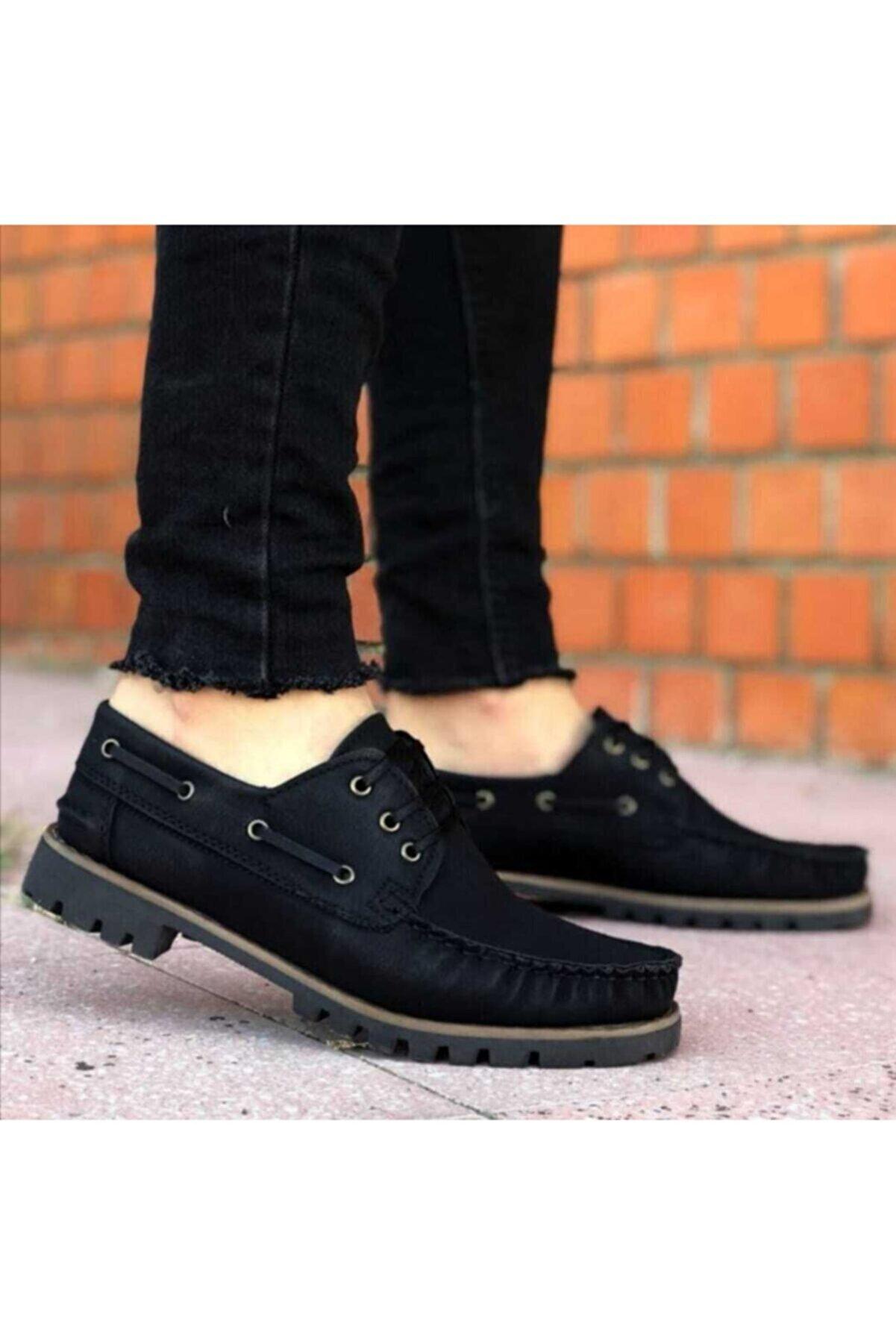 Zegeshoes Erkek Siyah Bağcıklı Klasik Ayakkabı