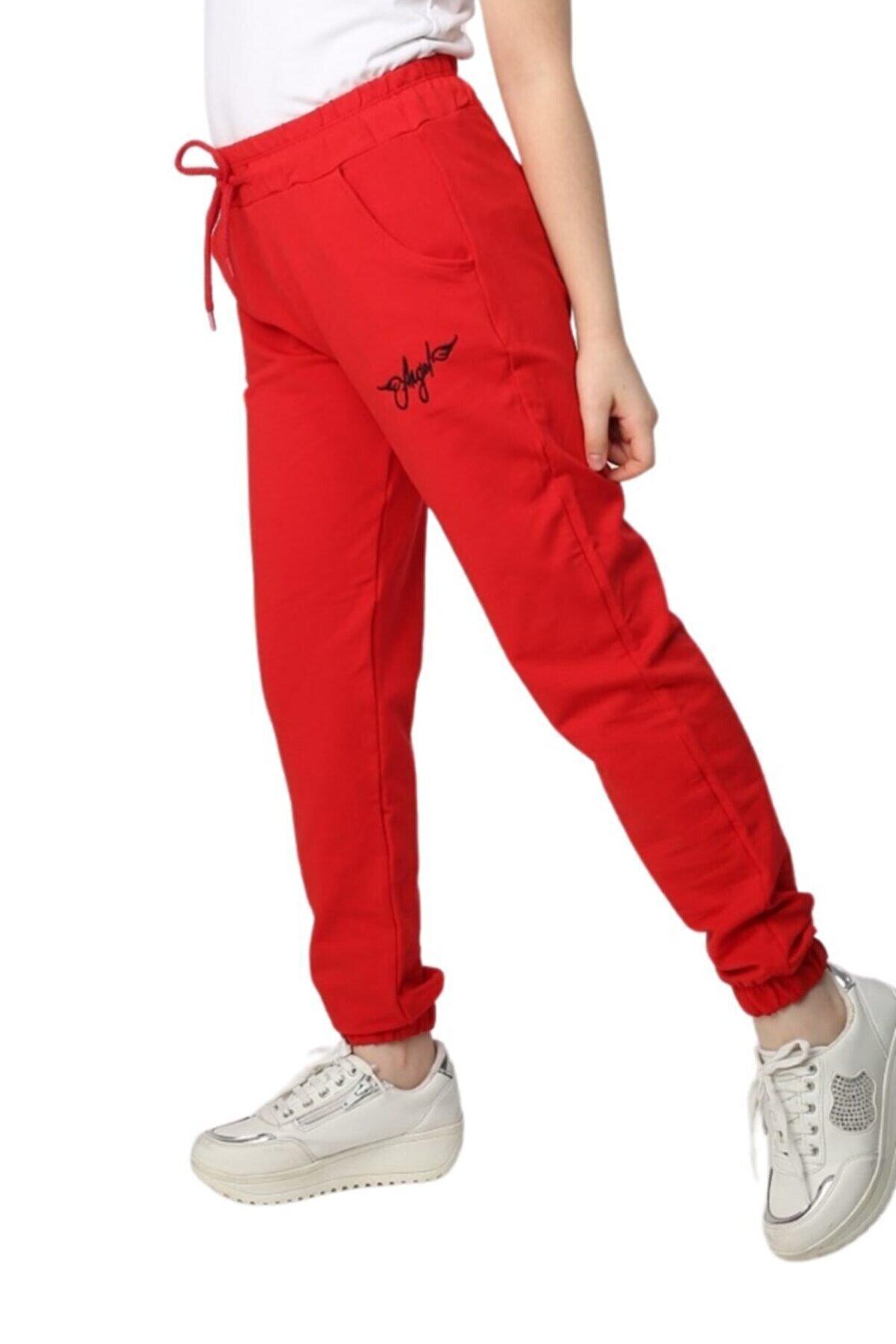 TrendAll Butik Kız Çocuk Kırmızı Angel Yazılı Jogger Eşofman Altı