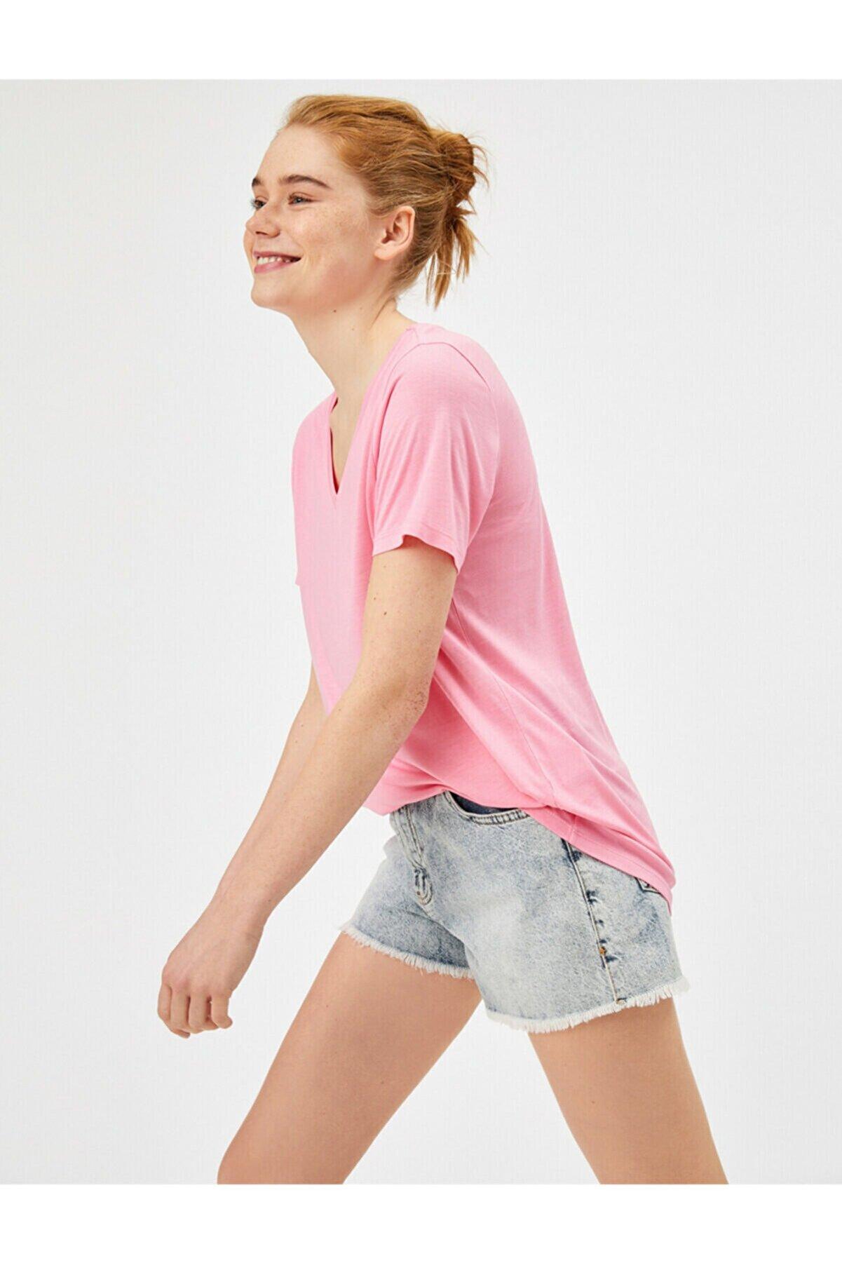 Koton Kadın Pembe V Yaka T-Shirt