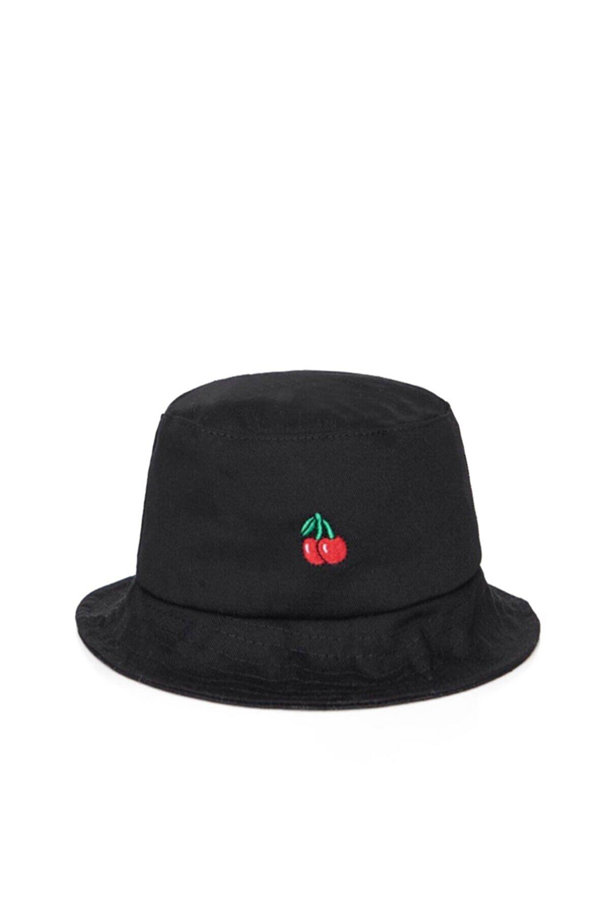 Güce Kırmızı Kiraz Işlemeli Siyah Bucket Balıkçı Şapkası Gc0139kiraz
