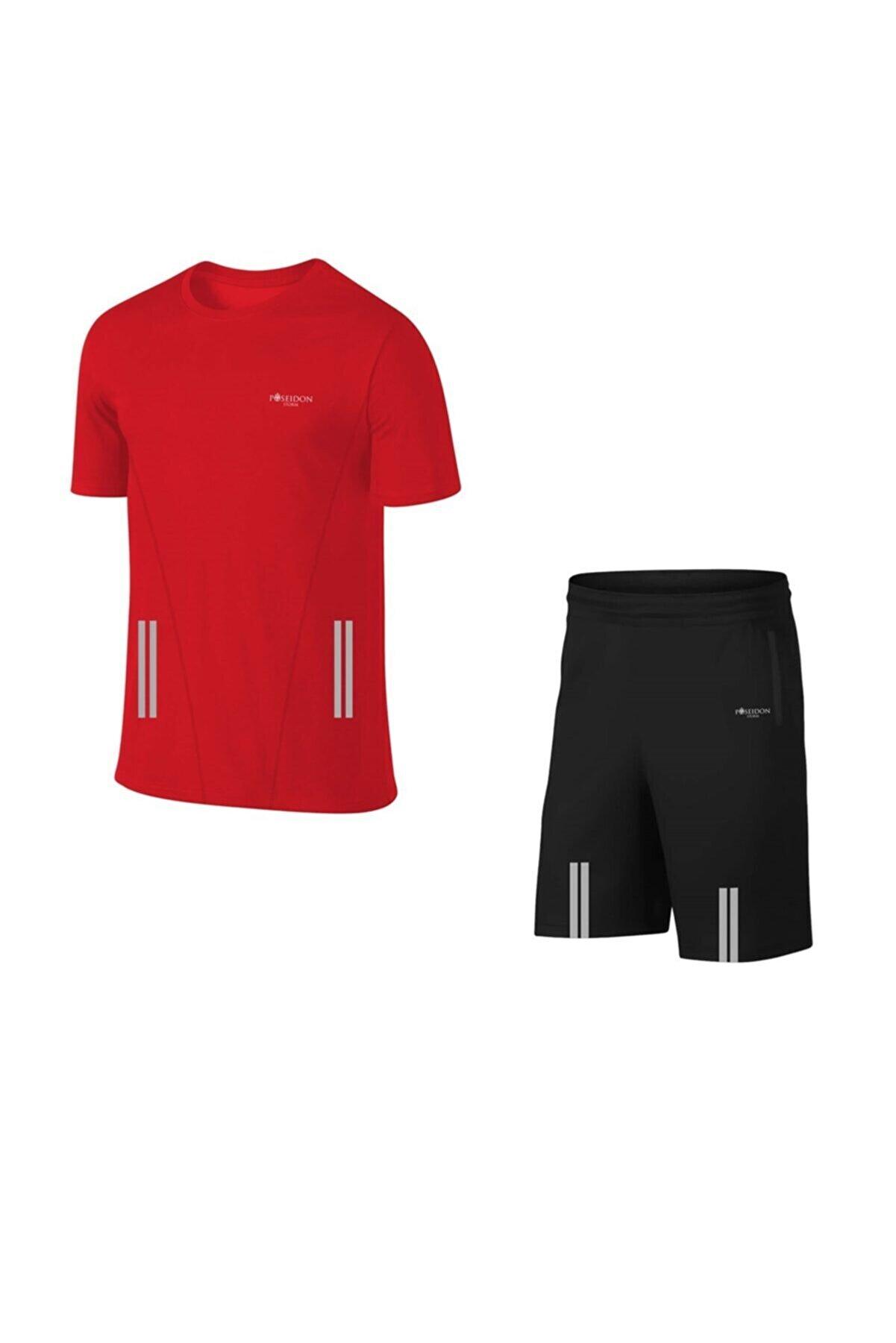 POSEIDONSTORM Erkek Kırmızı Büyük Beden Günlük Sporcu Tişört Ve Şort Takımı