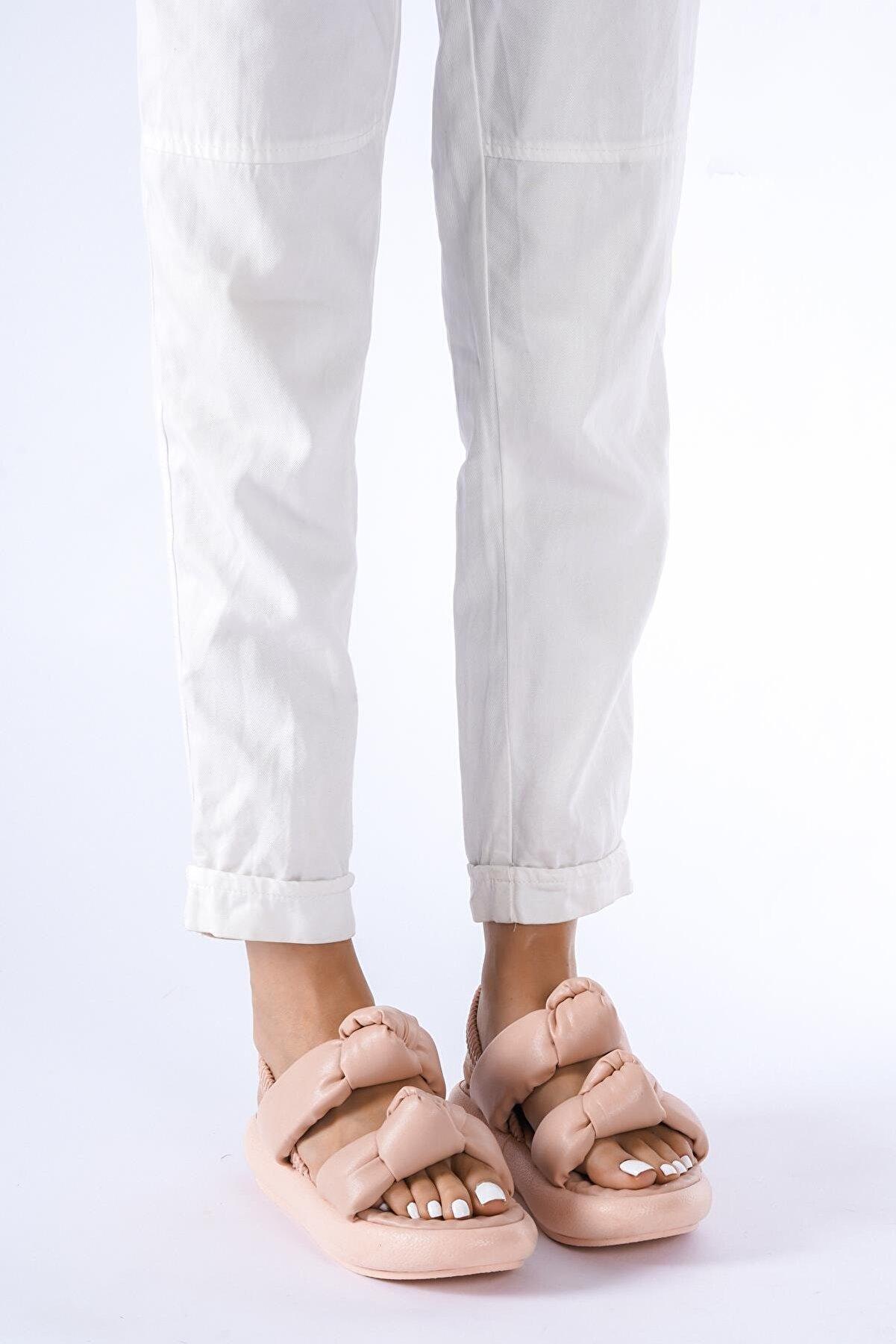 modalmila Kadın Pembe Çift Taban Lastikli Sandalet