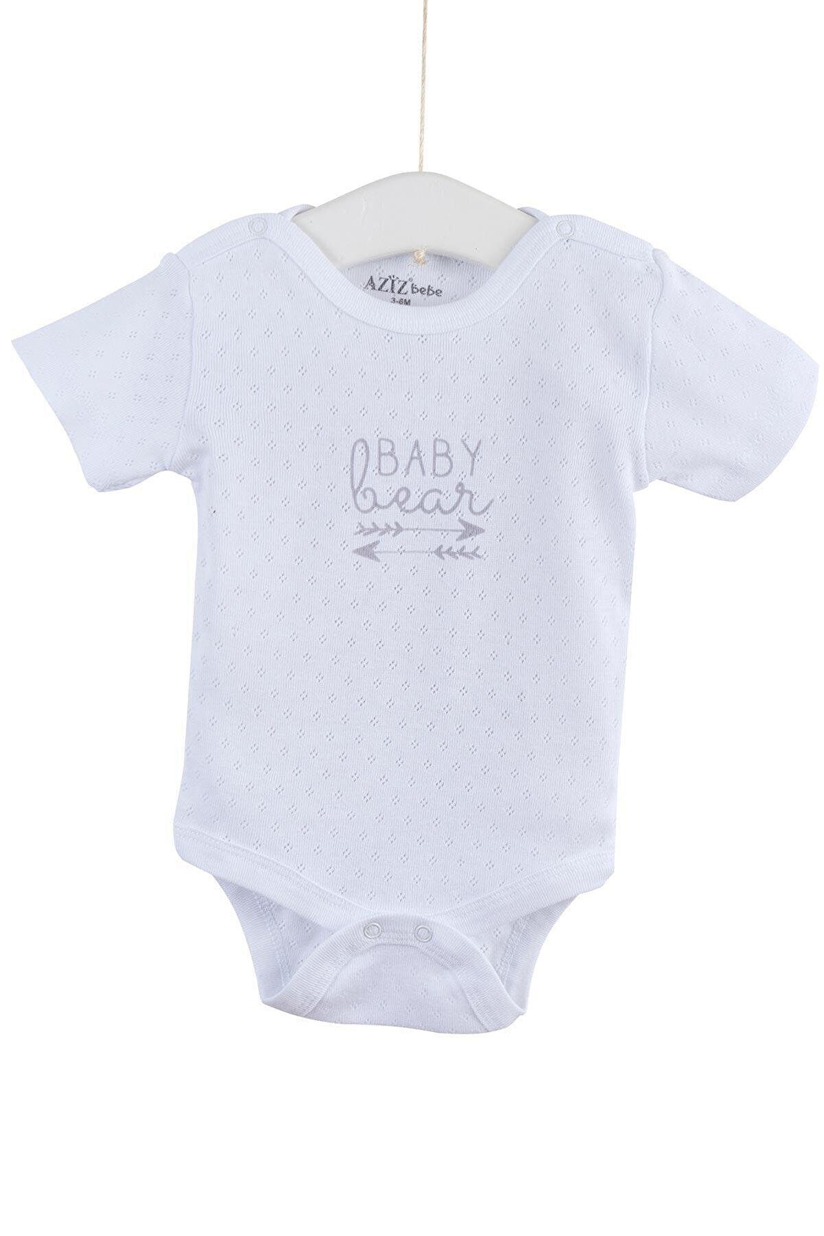 Aziz Bebe Kız Bebek Delikli Çıtçıtlı Body 0-12 Ay Azz001716