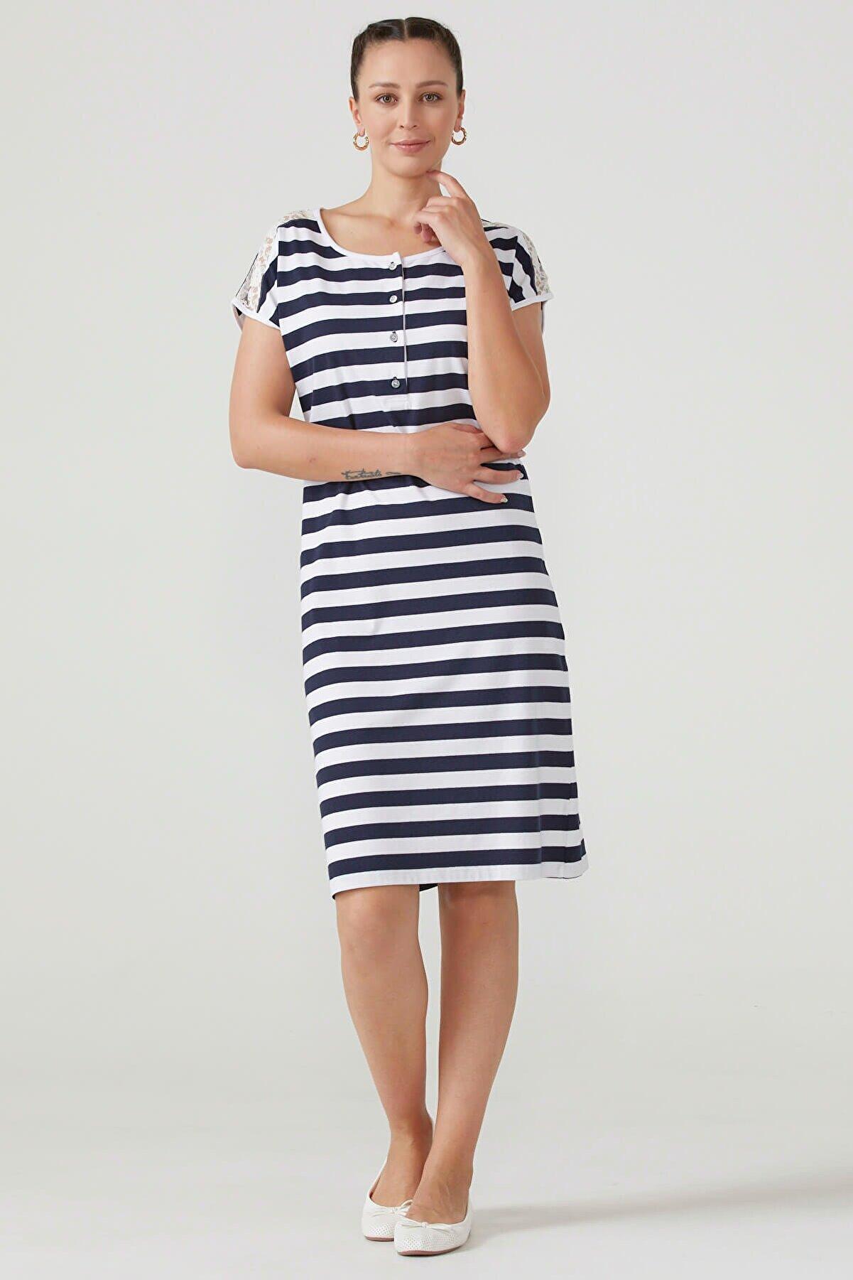 Sementa Kadın Omuzu Dantel Detaylı Çizgili Elbise - Lacivert