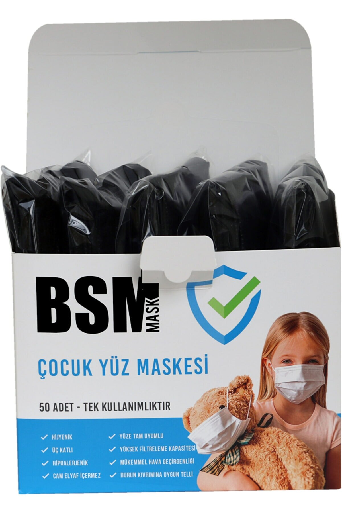 BSM Extra Hijyenik 10'lu Paket Siyah Medikal Çocuk Maskesi 50 Adet