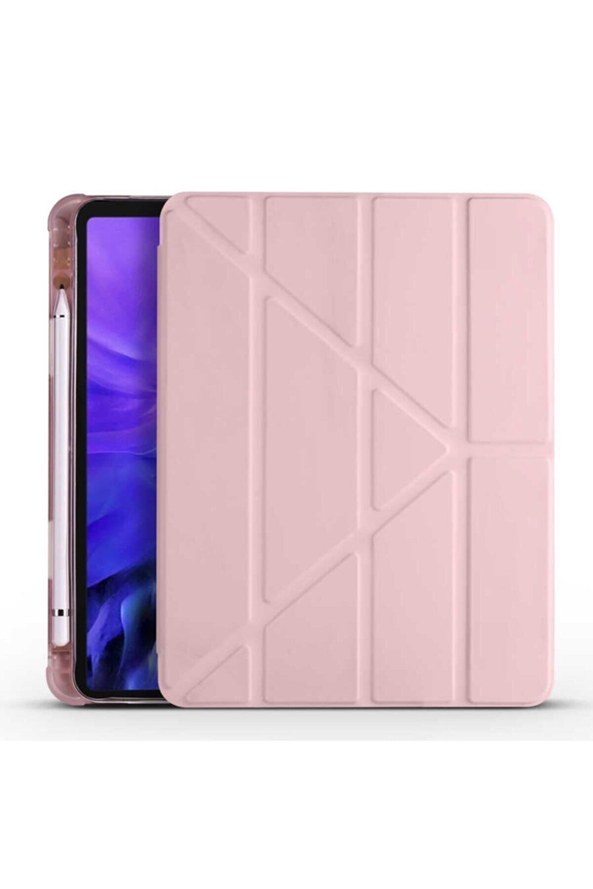 Samsung Galaxy Tab S6 Lite P610 Kılıf Tri Folding Smart Cover Standlı Kalemlikli Kapak Pembe