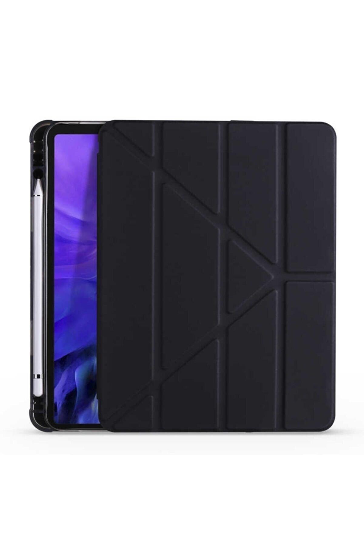 Samsung Galaxy Tab S6 Lite P610 Kılıf Tri Folding Smart Cover Standlı Kalemlikli Kapak Siyah