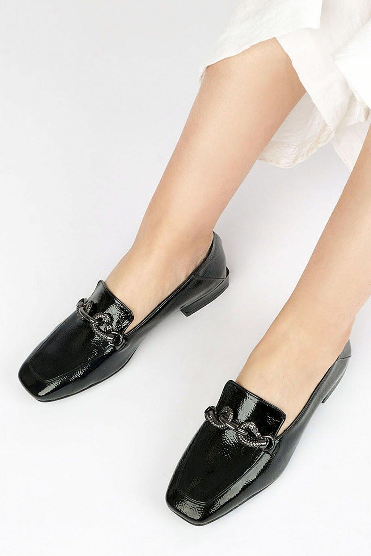 Marjin Kadın Loafer Ayakkabı Alvasiyah Rugan