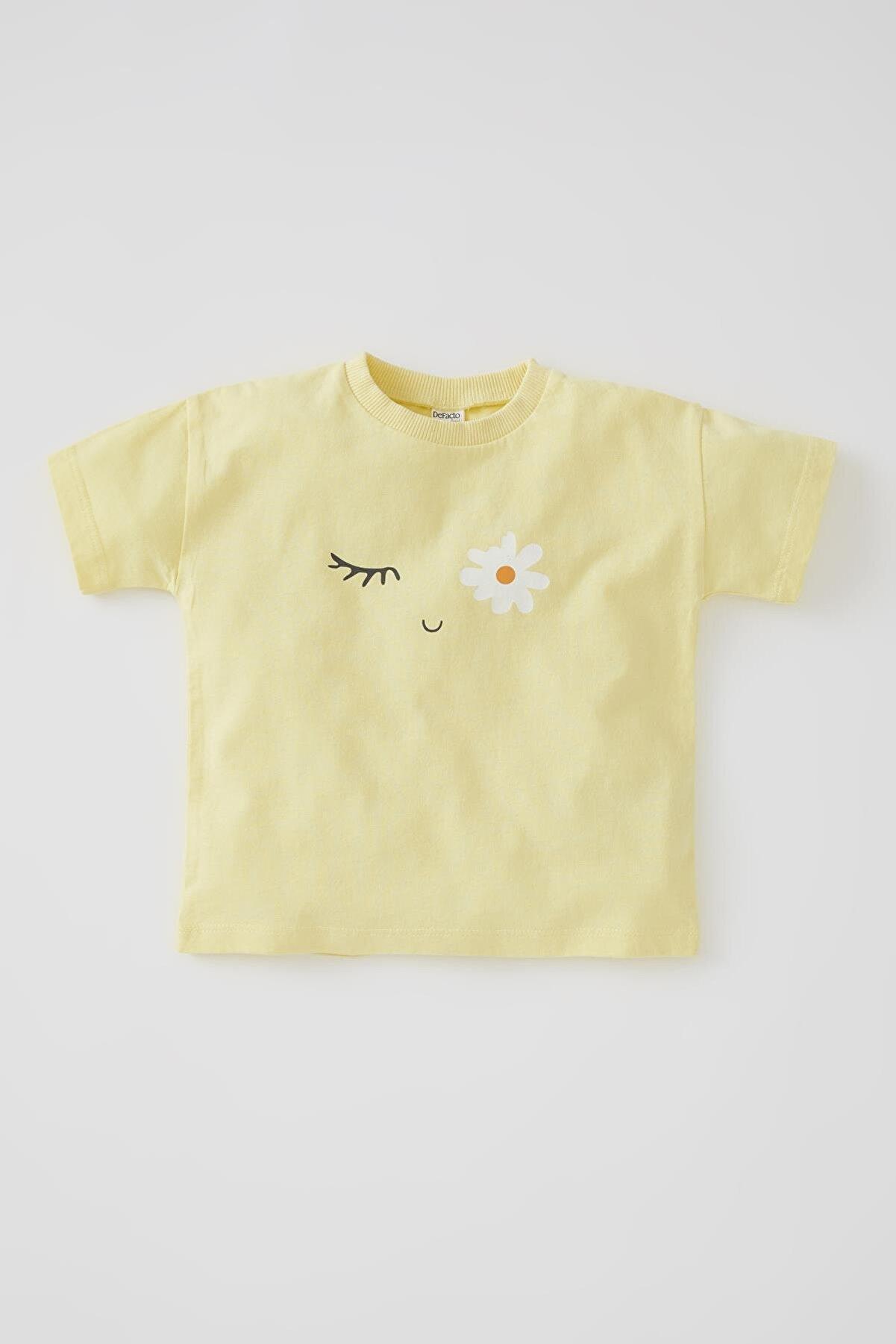 Defacto Kız Bebek Papatya Baskılı Kısa Kollu Pamuklu Tişört