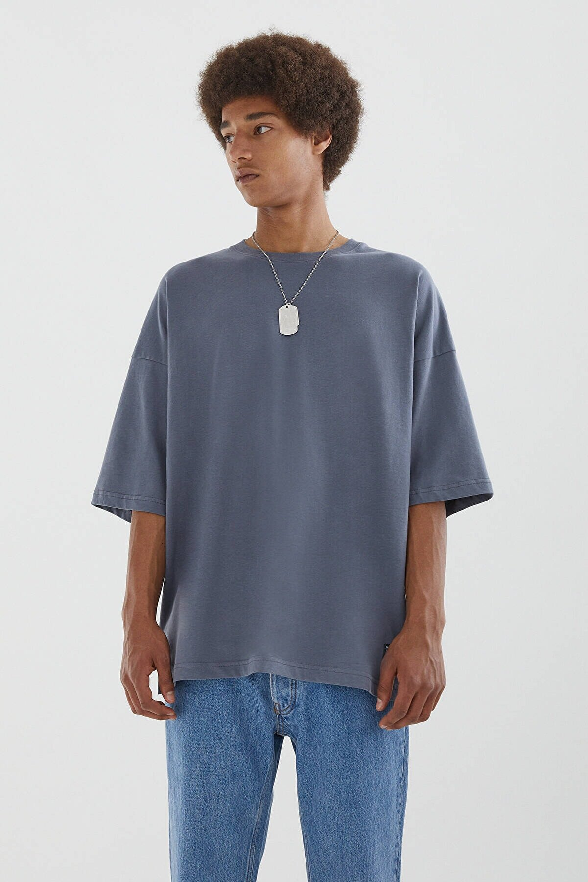 Pull & Bear Erkek Gri Basic Kısa Kollu Loose Fit T-shirt