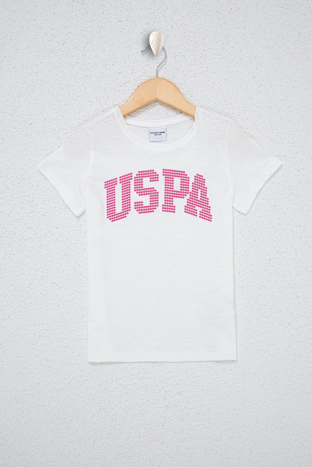 US Polo Assn Beyaz Kız Çocuk T-Shirt