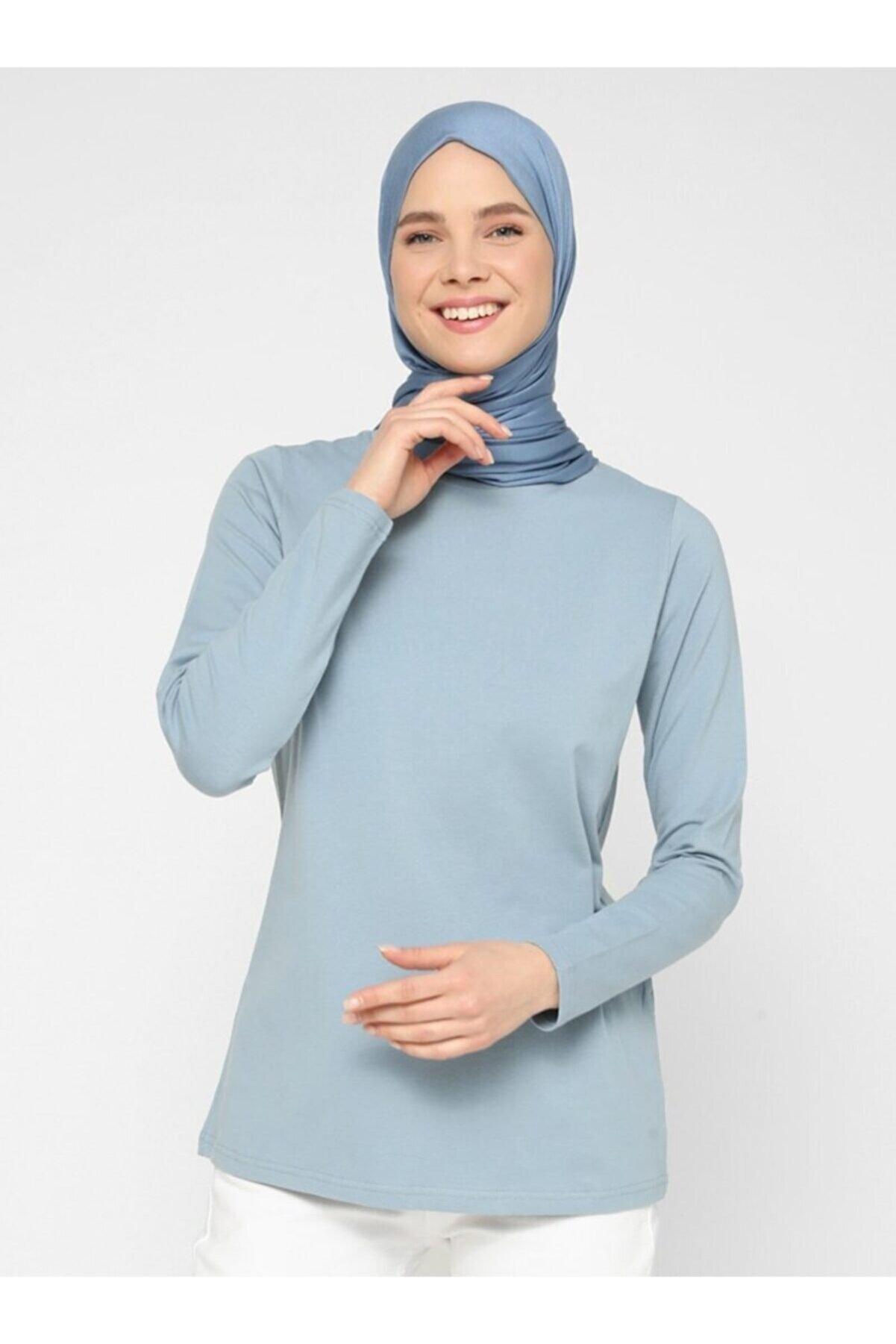 Refka Kadın Derin Mavi Uzun Kollu Pamuk Kumaşlı Basic Tişört  Basic