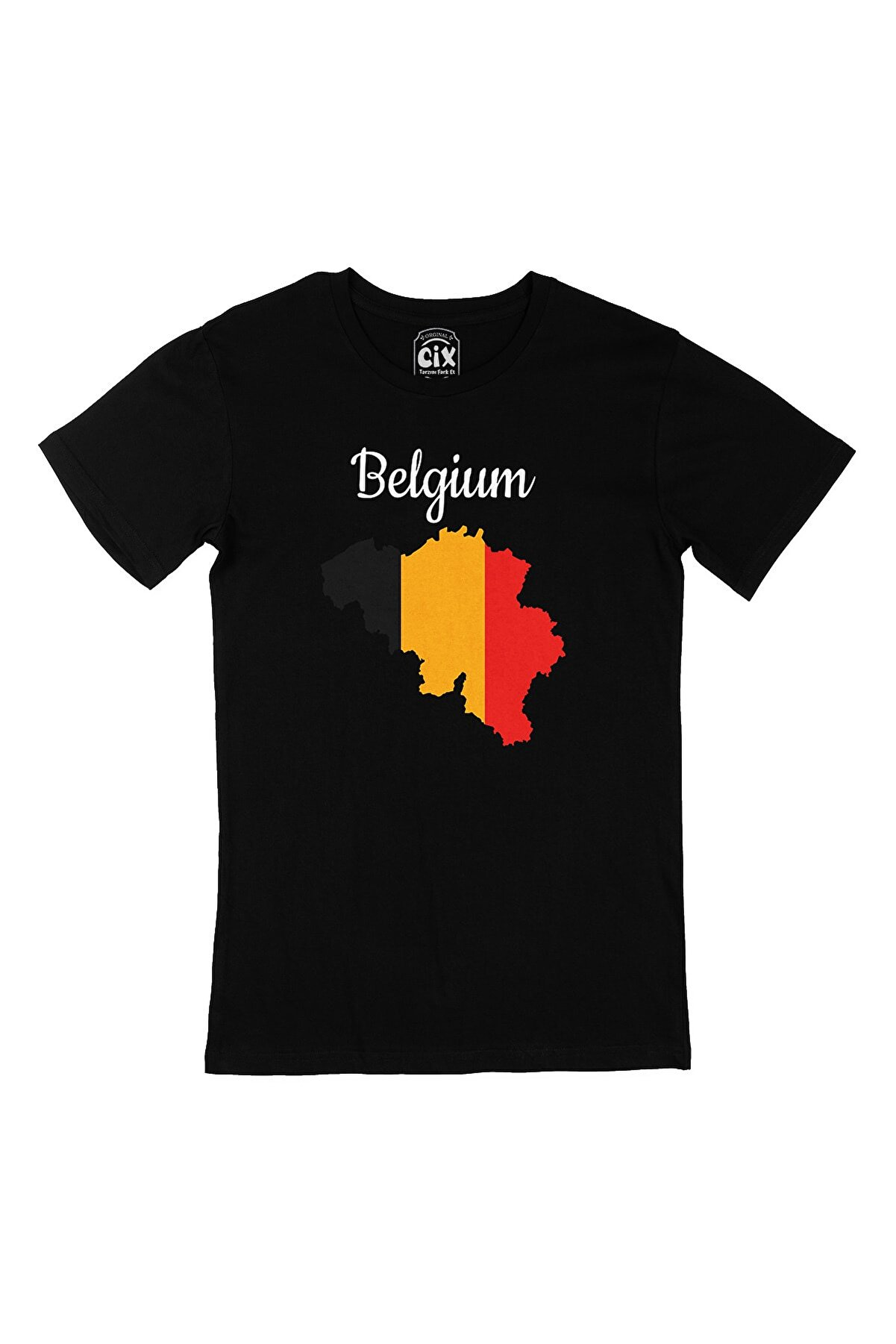 Cix Belçika Haritalı ve Bayraklı Siyah Tişört