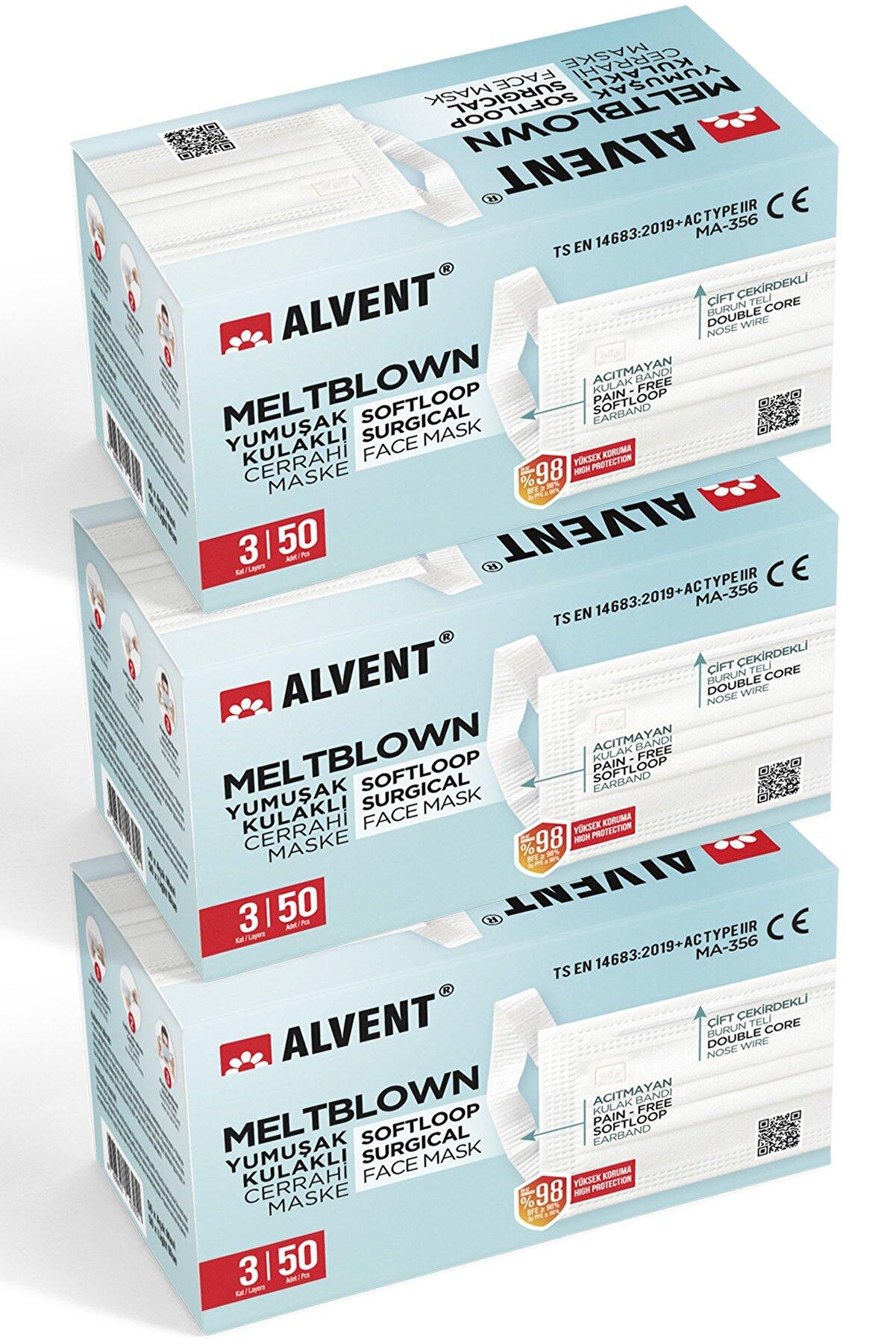 ALVENT Meltblown Maske 150 Adet-yumuşak Kulaklı-(en Az %98 Koruma - Sertifikalı)-tıp2r - Beyaz