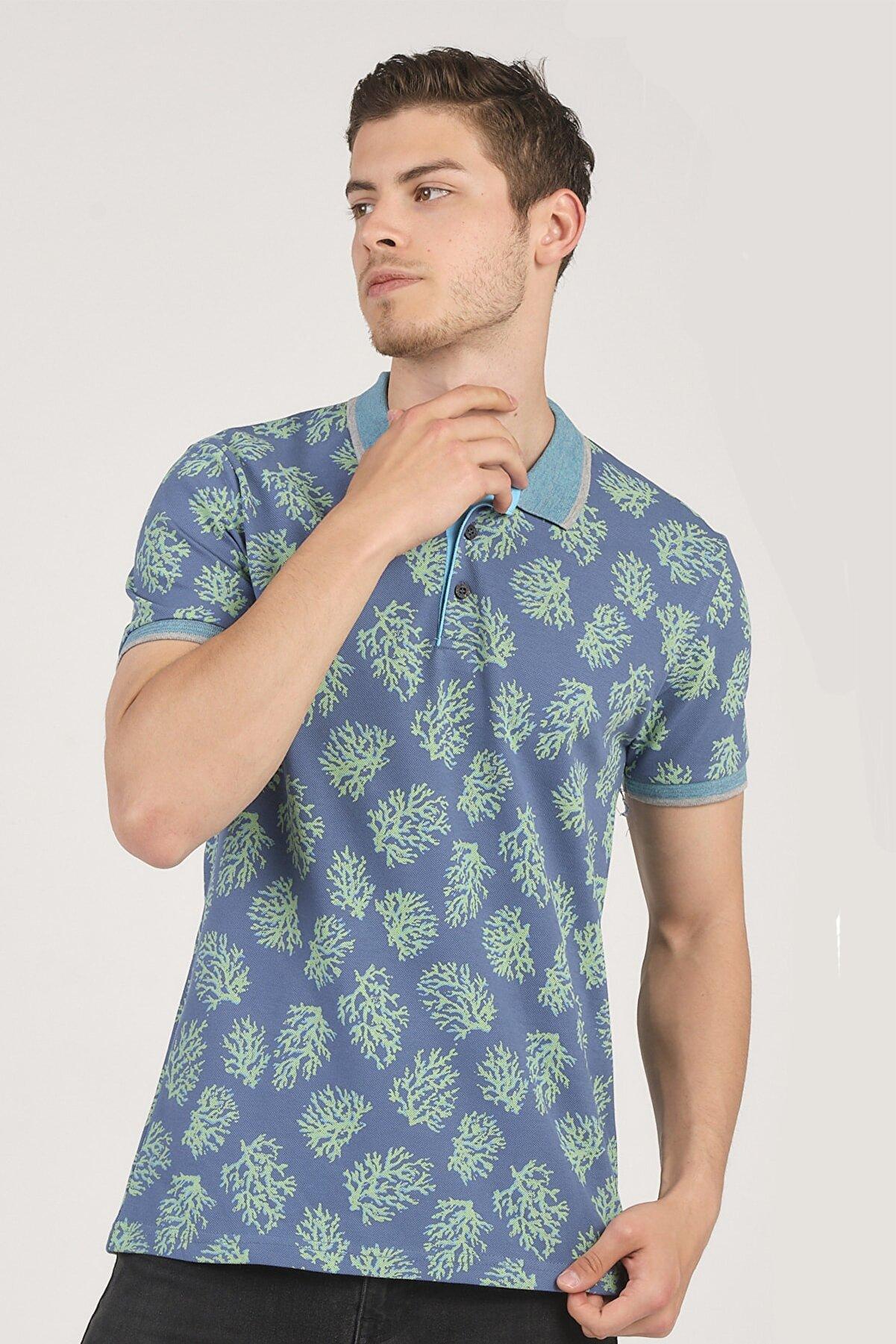 Cazador %100 Pamuk Polo Yaka Desenli Erkek T-shirt