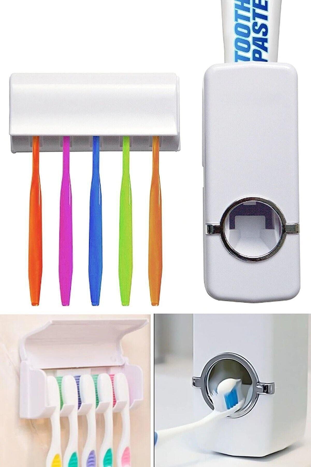 UzayKonsept Otomatik Diş Macunu Sıkacağı Ve 5'li Diş Fırçalığı