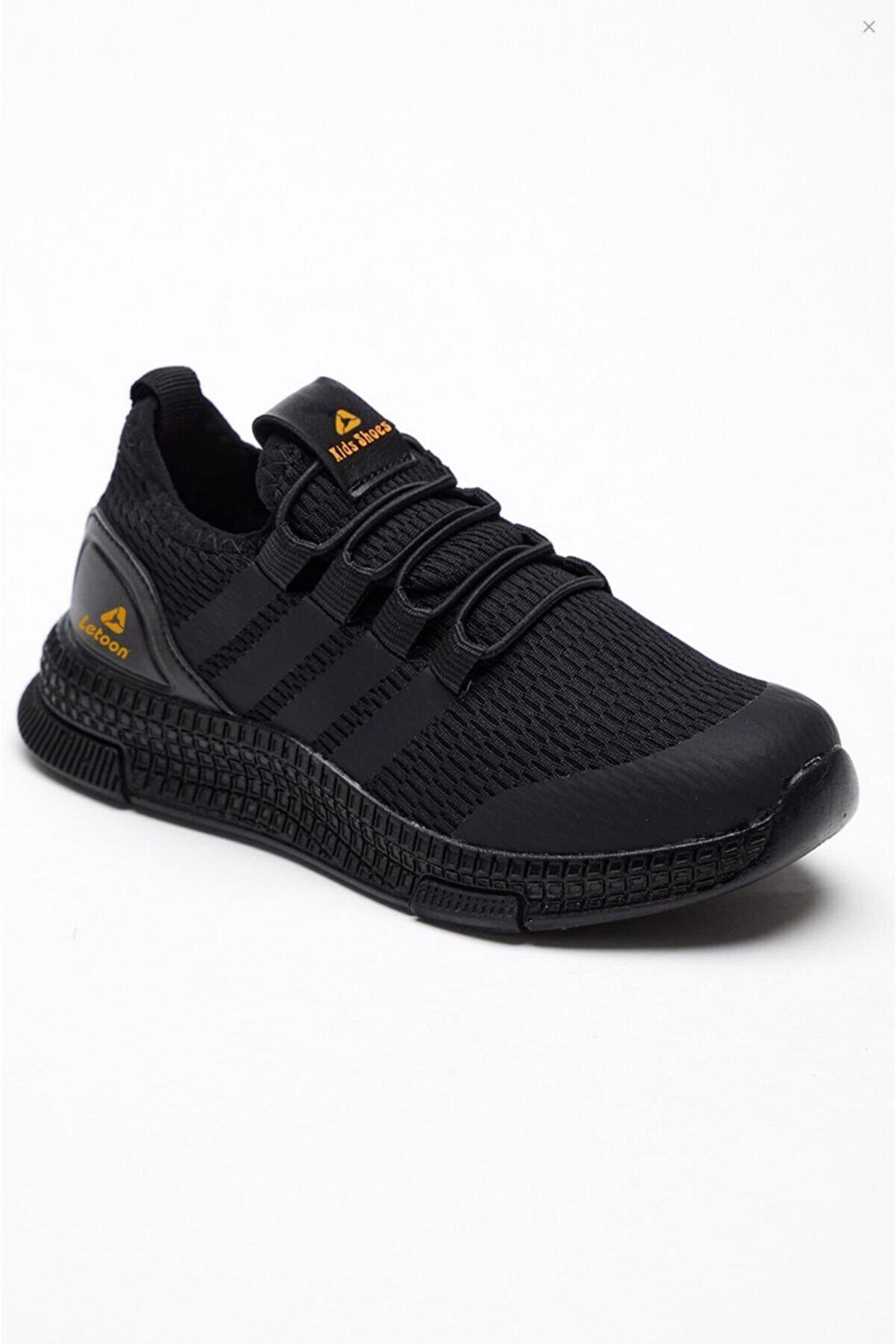 LETOON Unisex Çocuk Siyah Sneaker