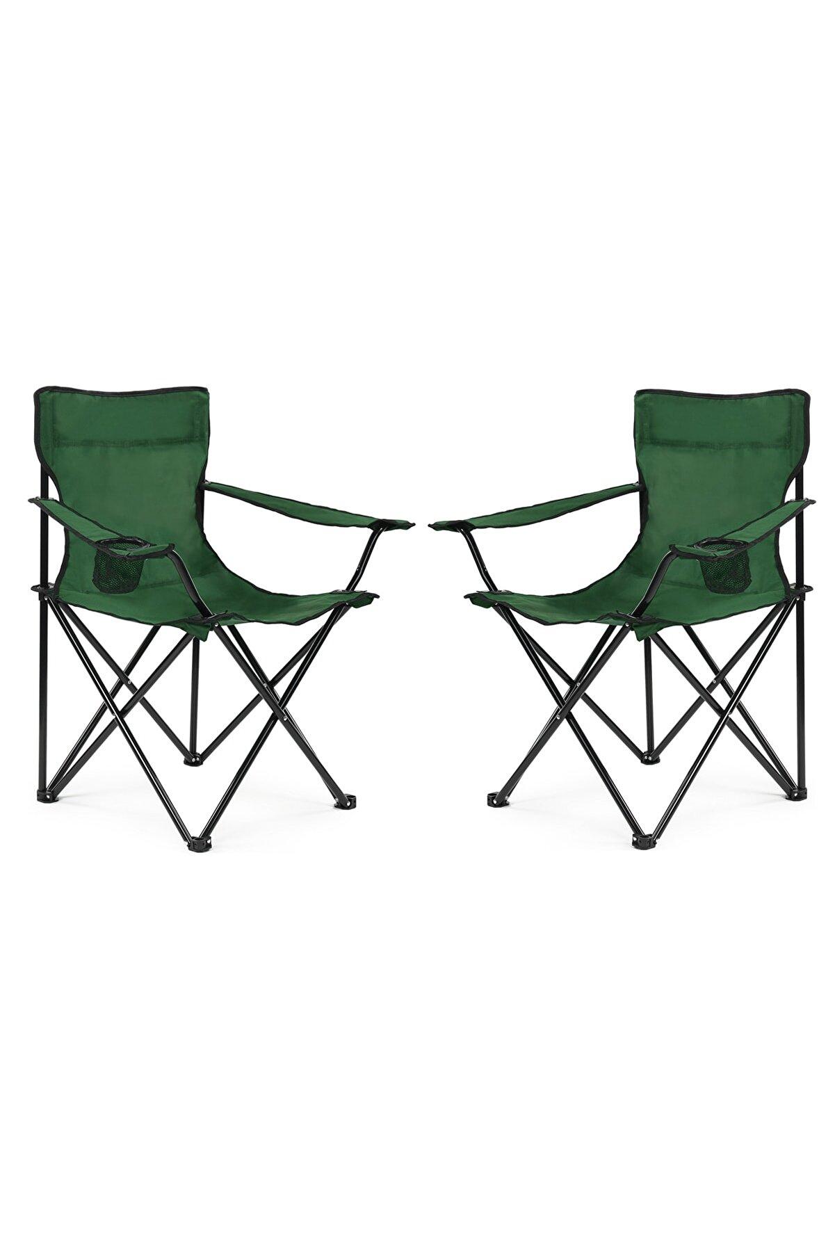 Walke 2 Li Katlanabilir Kamp Sandalyesi Piknik Sandalyesi Plaj Sandalyesi Yeşil Taşıma Çantalı