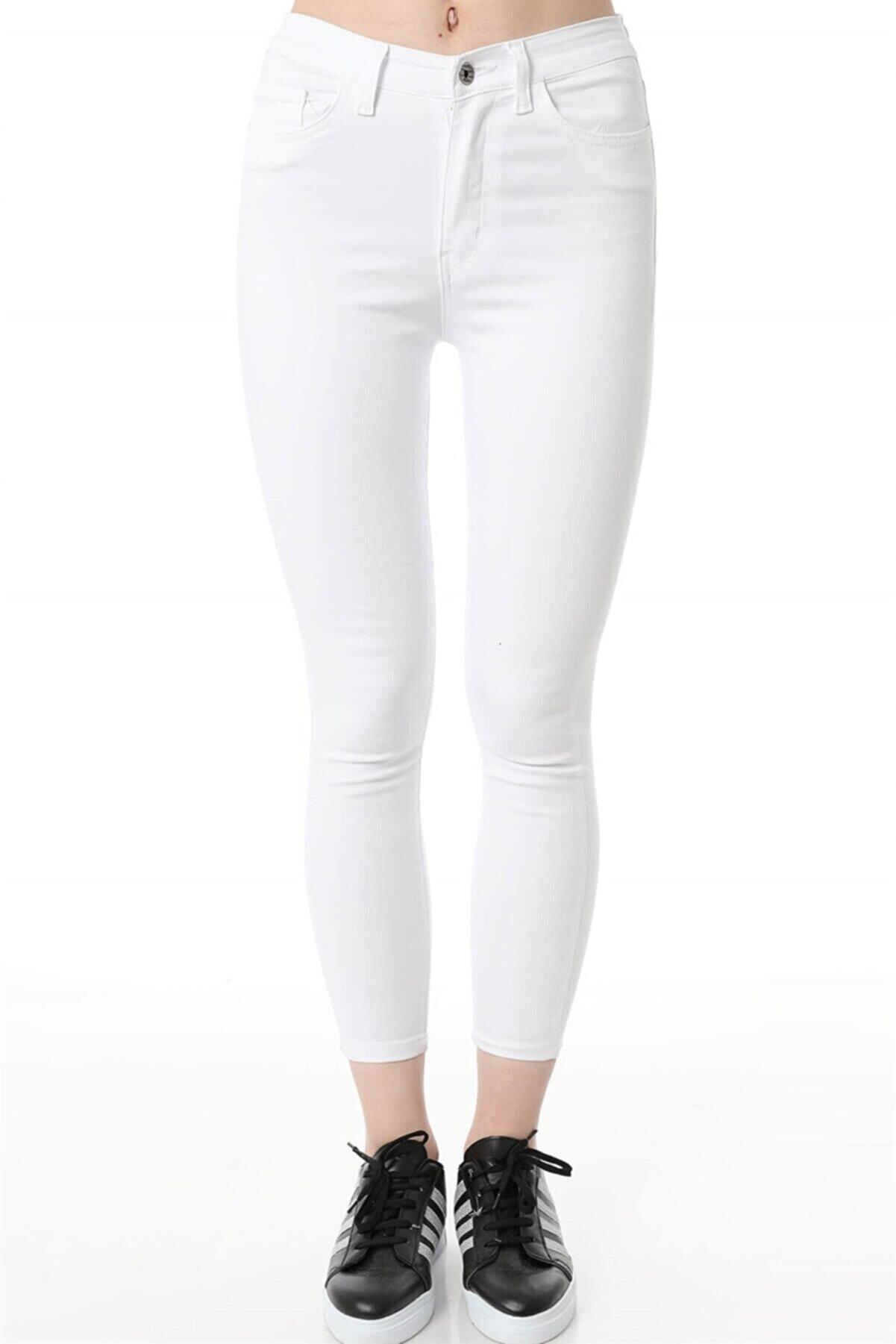 ZİNCiRMODA Kadın Yüksek Bel Dar Paça Skinny Fit Denim Jeans Kot Pantolon Beyaz