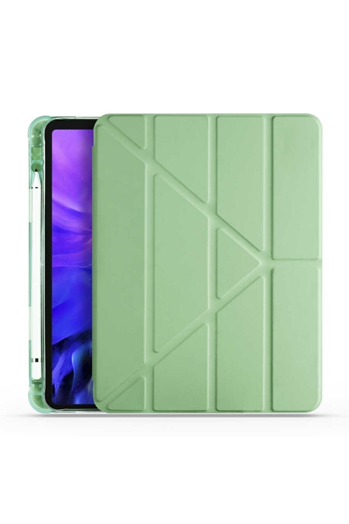 Samsung Galaxy Tab S6 Lite P610 Kılıf Tri Folding Smart Cover Standlı Kalemlikli Kapak Yeşil