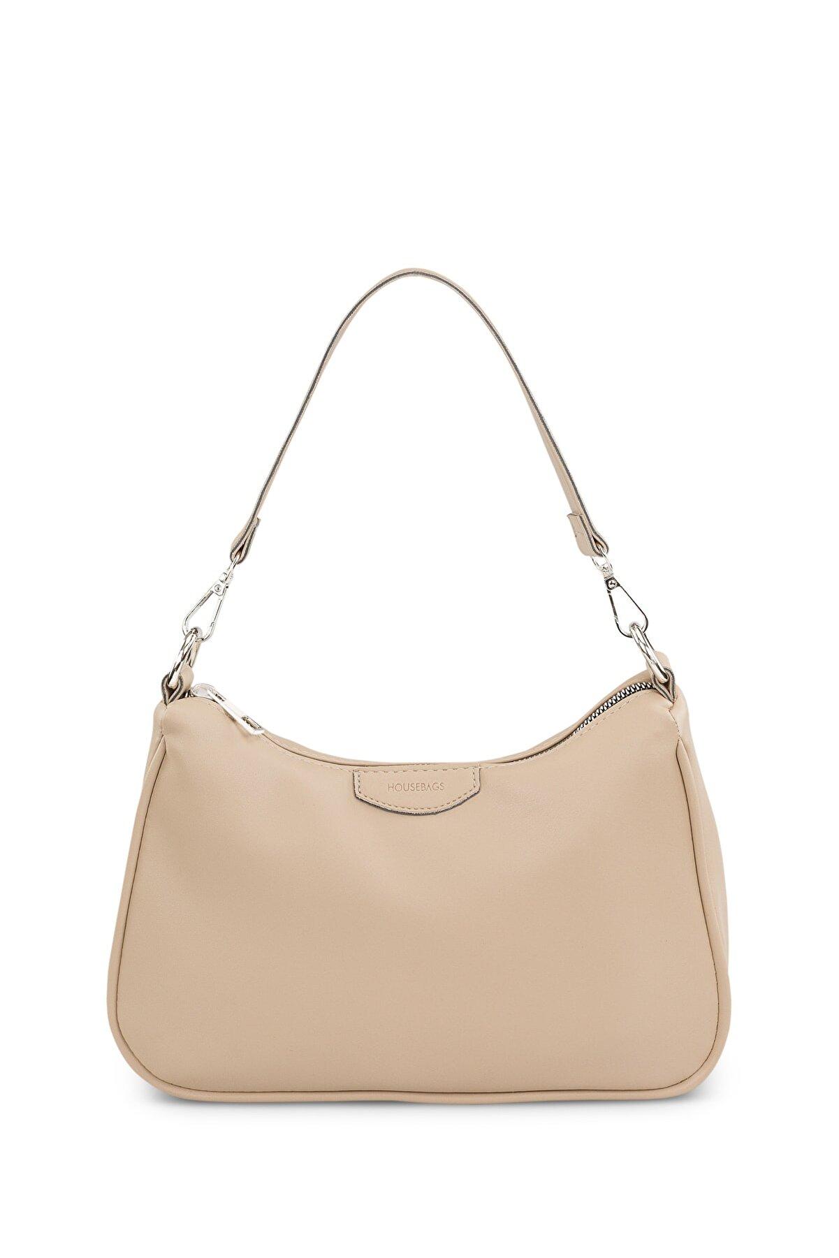 Housebags Kadın Krem Baguette Çanta 206