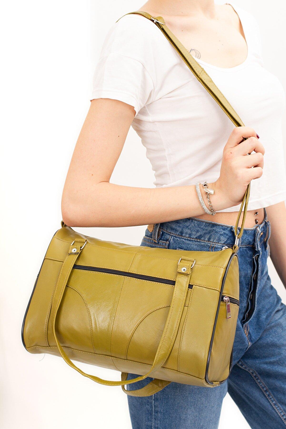 Kindfox Hakiki Deri Lüks Çok Bölmeli Kadın El Ve Omuz Çantası   Yağ Yeşili