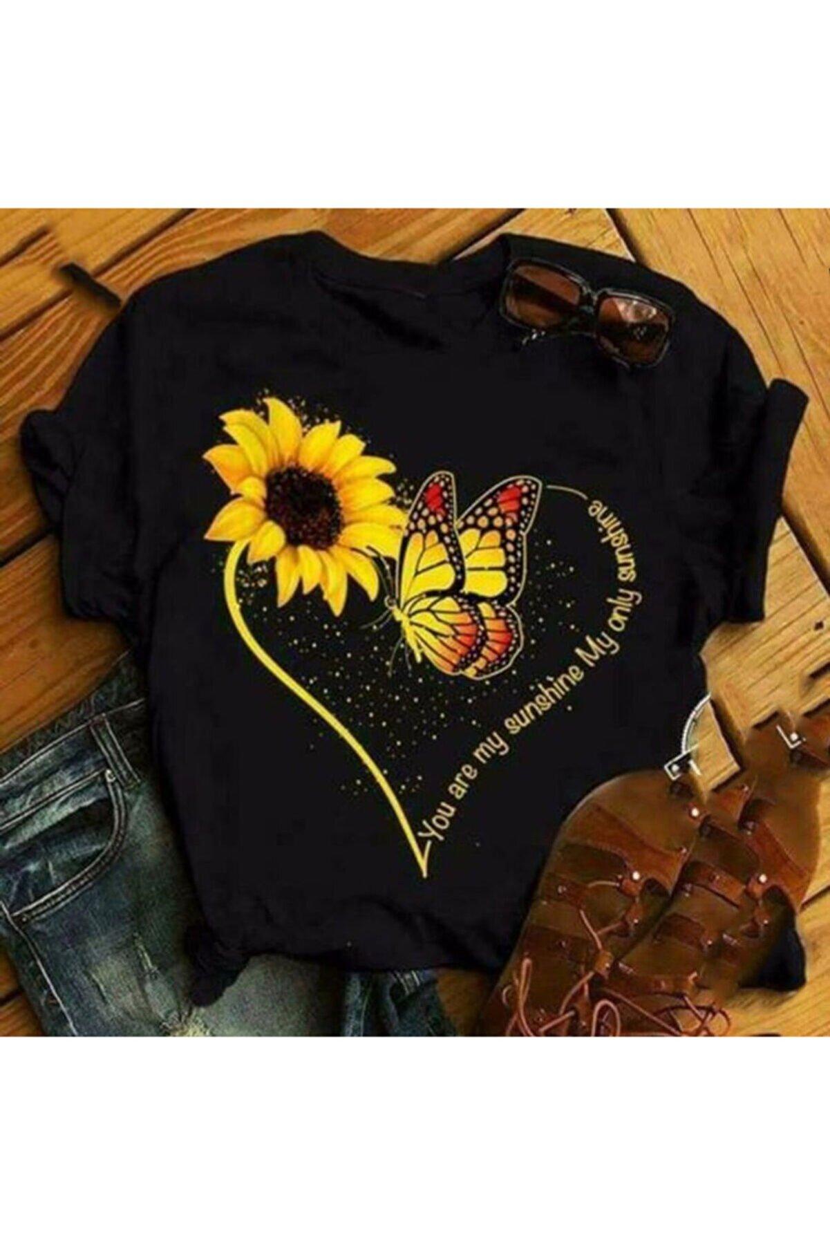 ND STYLİNG Kadın  Lucky Siyah Kelebek Tişört